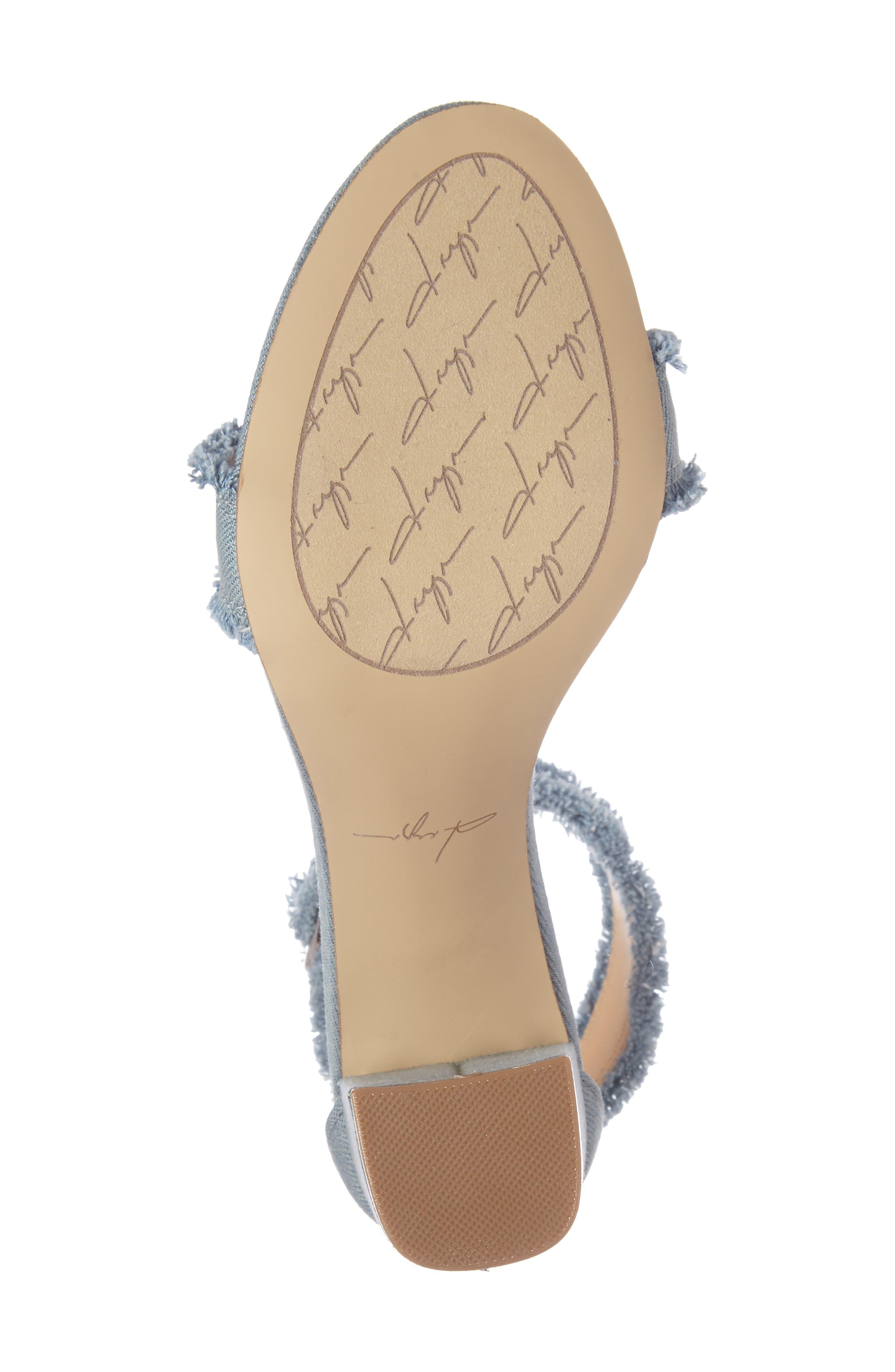 by Zendaya Shasta Fringe Denim Ankle Strap Sandal,                             Alternate thumbnail 12, color,