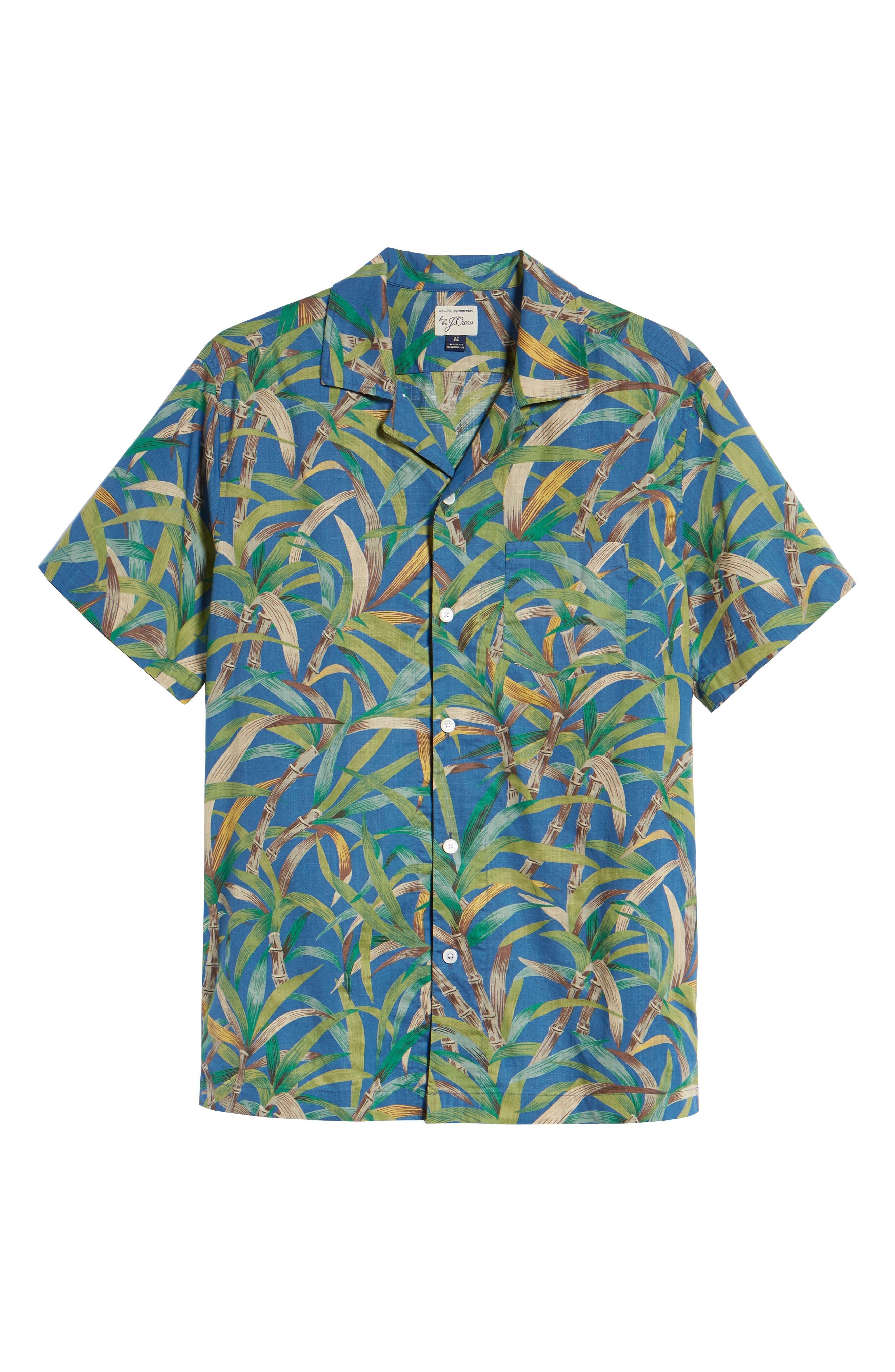 Regular Fit Leaf Print Slub Cotton Sport Shirt,                             Alternate thumbnail 5, color,                             500