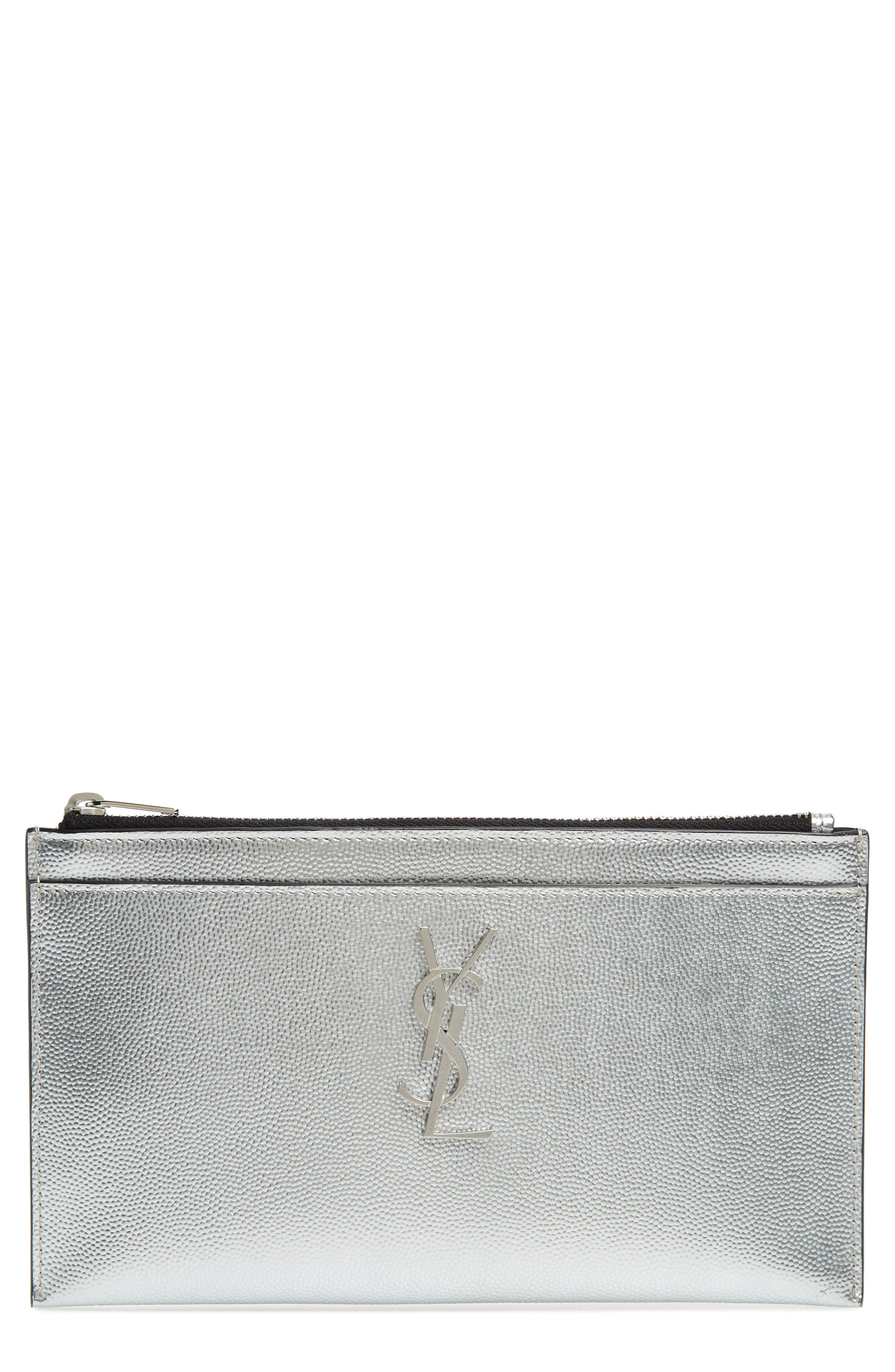 Metallic Leather Pouch,                             Main thumbnail 1, color,                             ARGENTO
