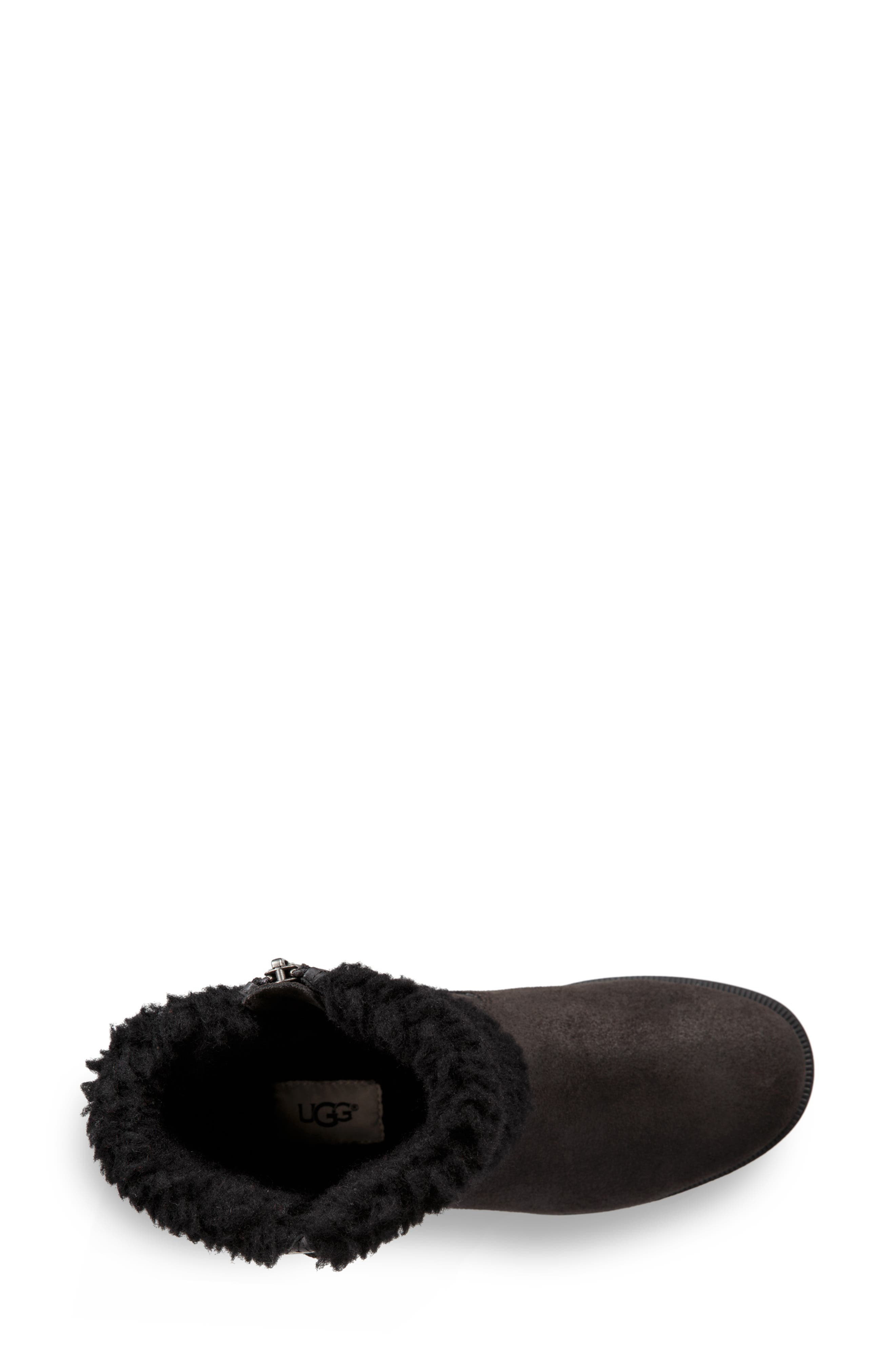Blayre III Faux Shearling Cuff Bootie,                             Alternate thumbnail 4, color,                             BLACK