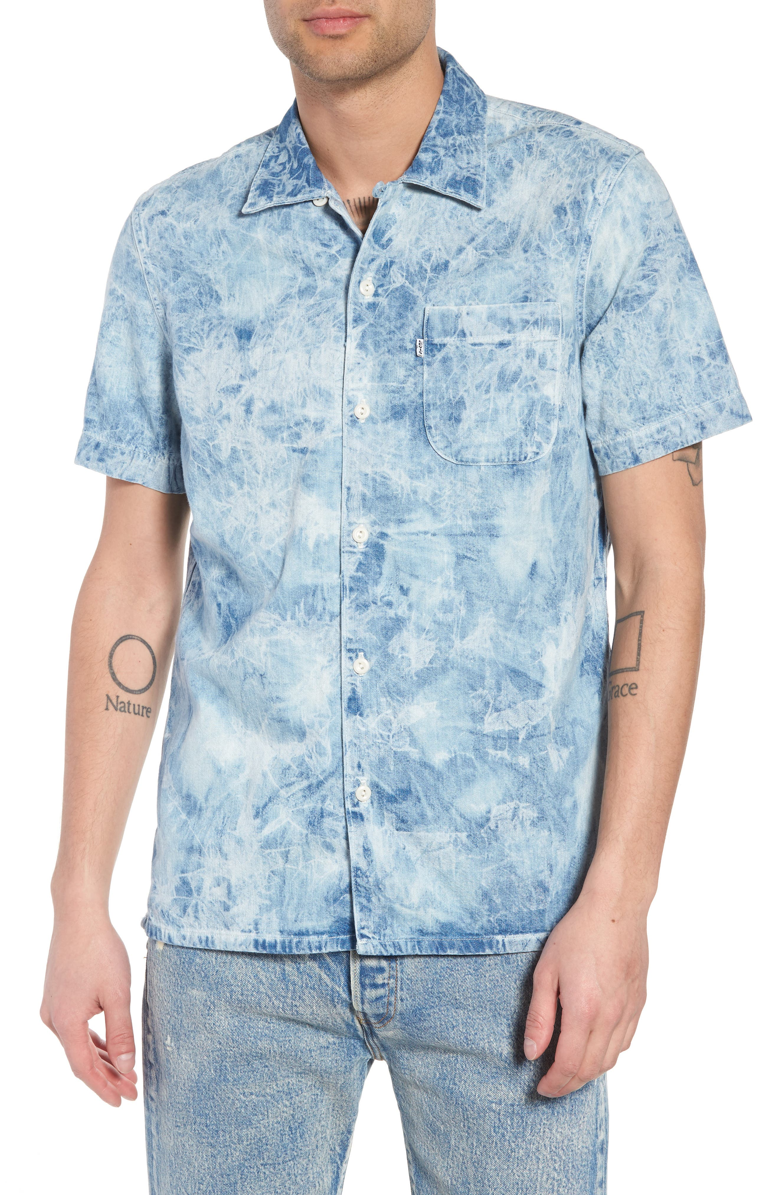 Hawaiian Shirt,                         Main,                         color, SPIDER BLEACH