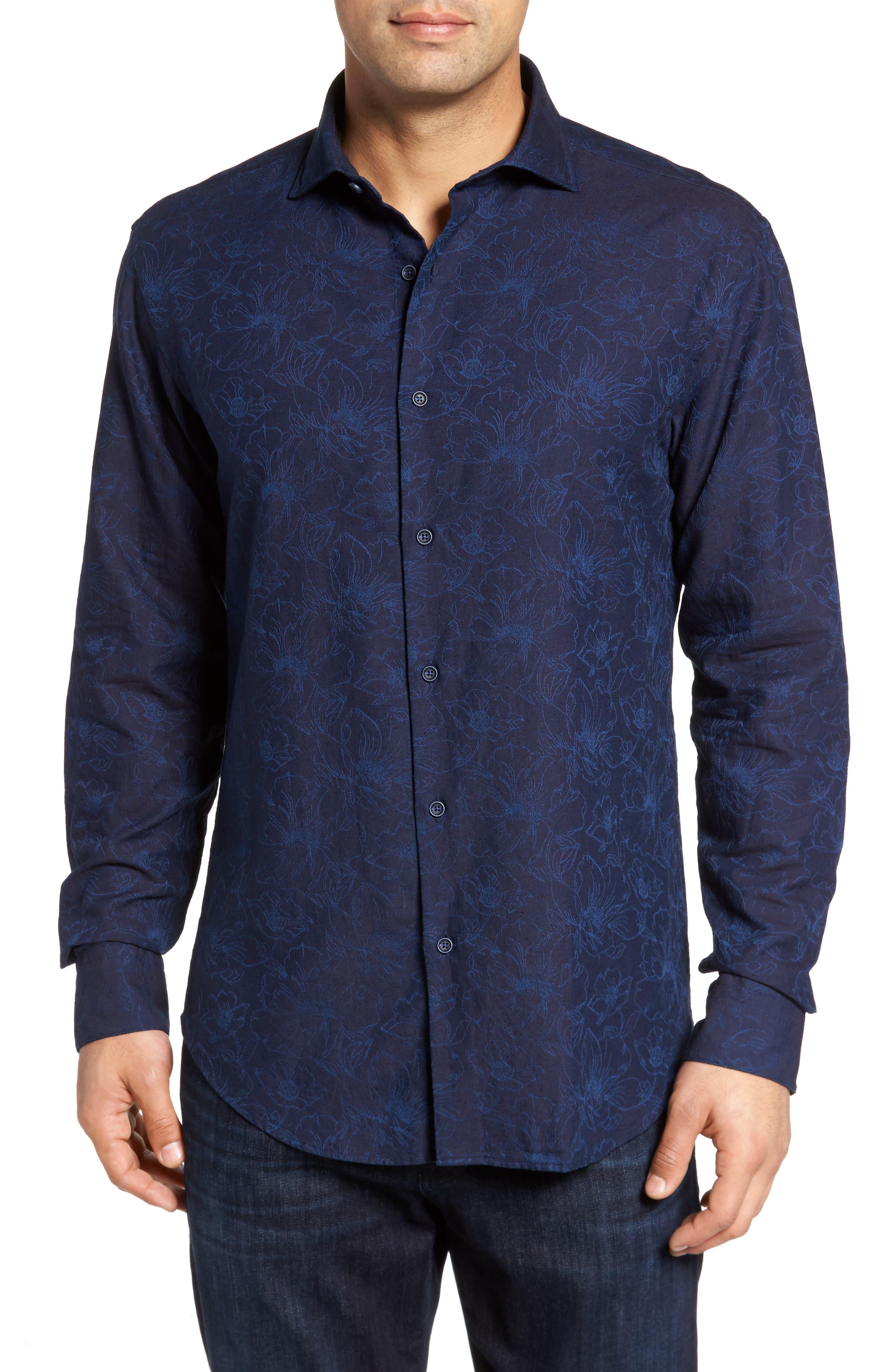 Slim Fit Floral Jacquard Sport Shirt,                         Main,                         color, 408
