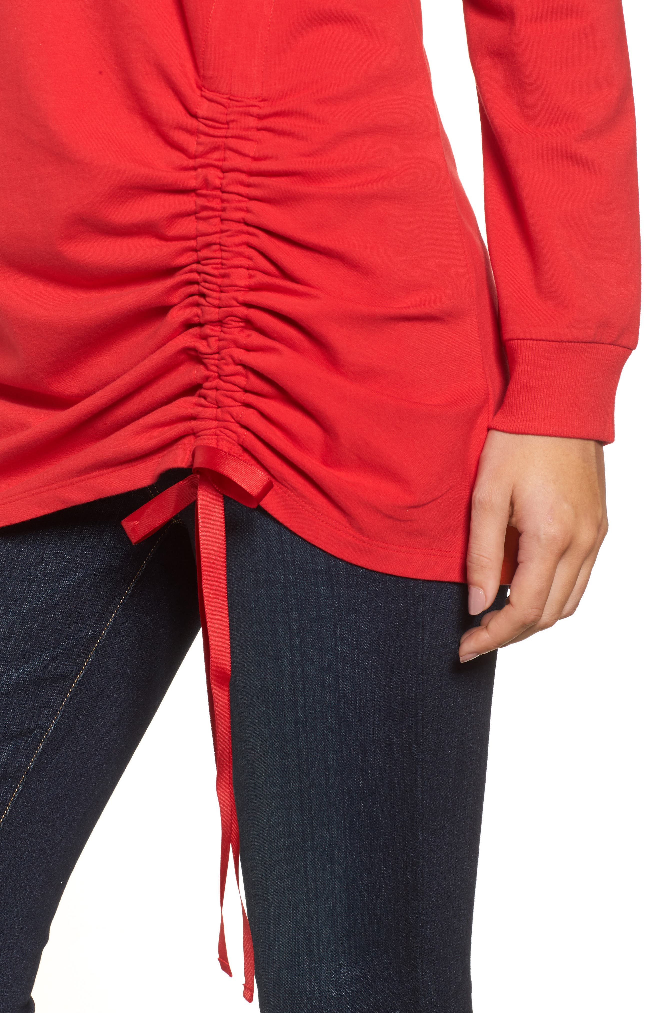 Ruched Front Tunic Sweatshirt,                             Alternate thumbnail 12, color,