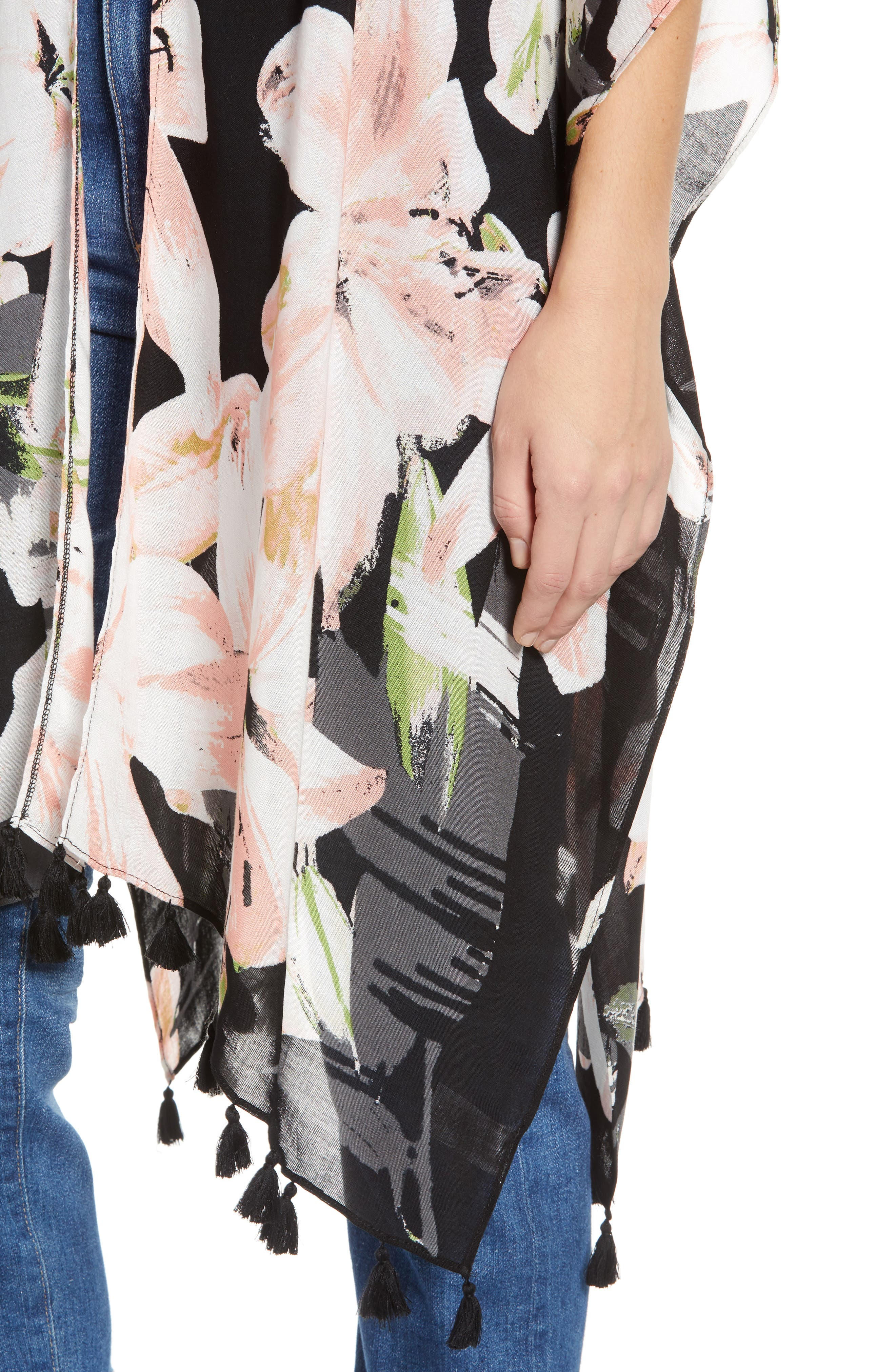 NORDSTROM,                             Print Kimono Wrap,                             Alternate thumbnail 5, color,                             BLACK DIGI FLORA