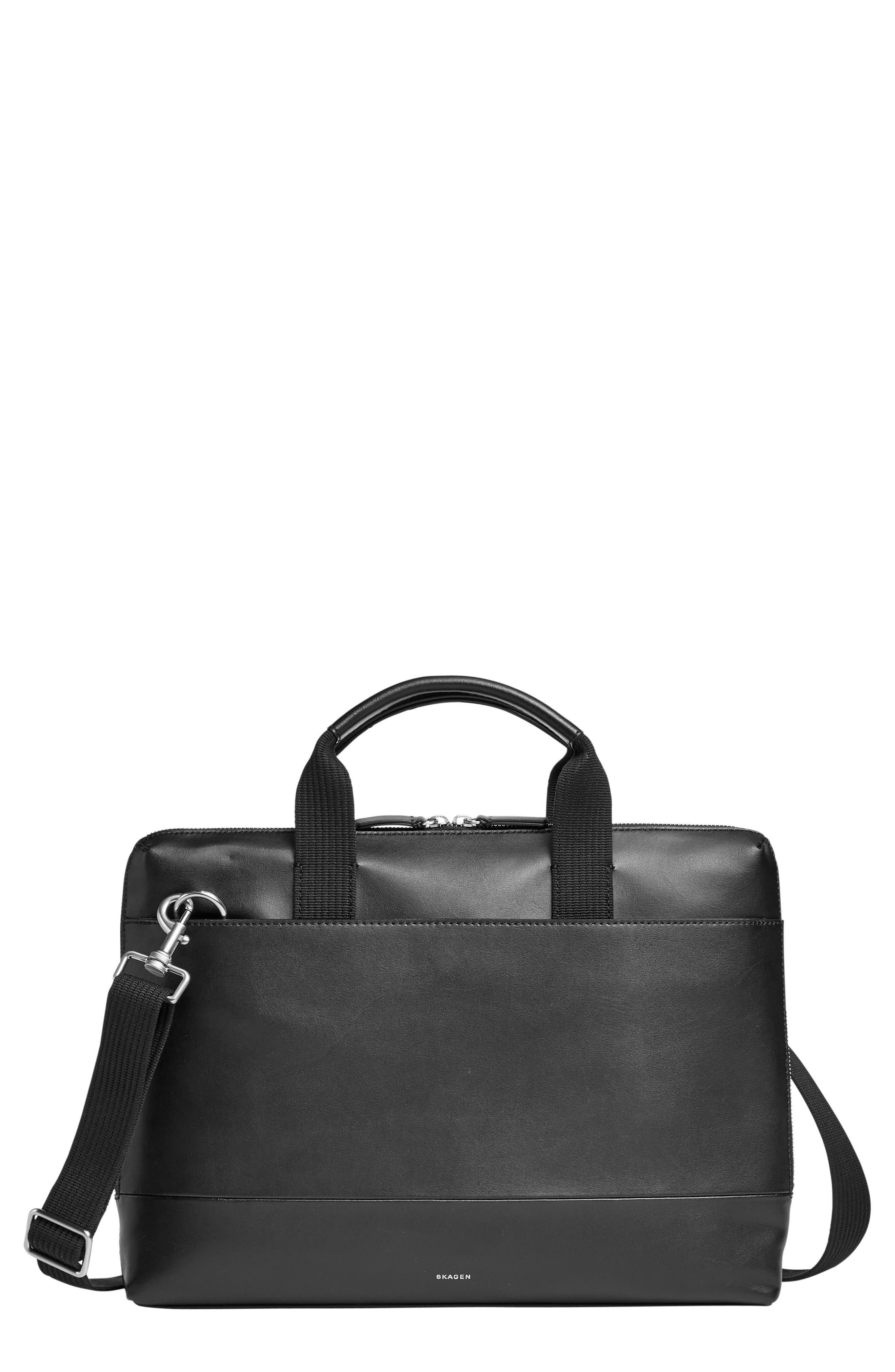Peder Leather Briefcase,                             Main thumbnail 1, color,                             001