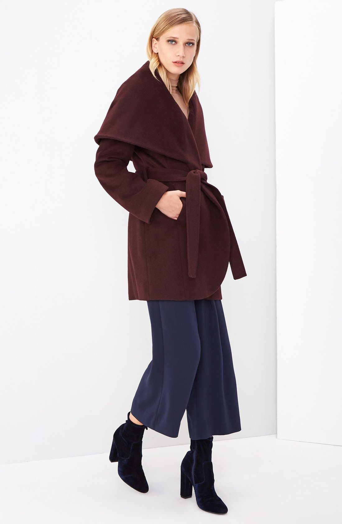 T Tahari Wool Blend Belted Wrap Coat,                             Alternate thumbnail 46, color,