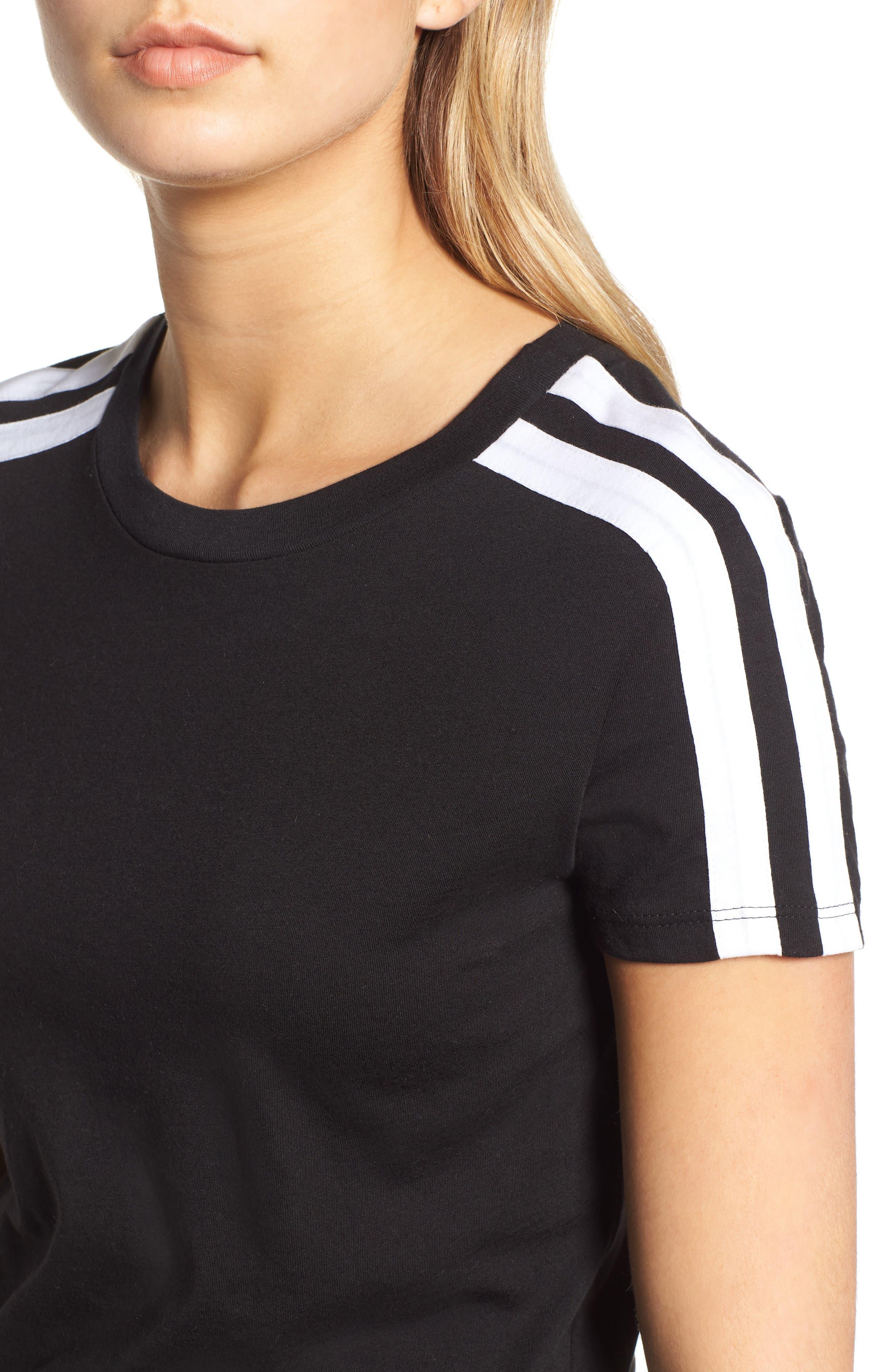 Kenya Stripe Shoulder Tee,                             Alternate thumbnail 4, color,                             BLACK CAT