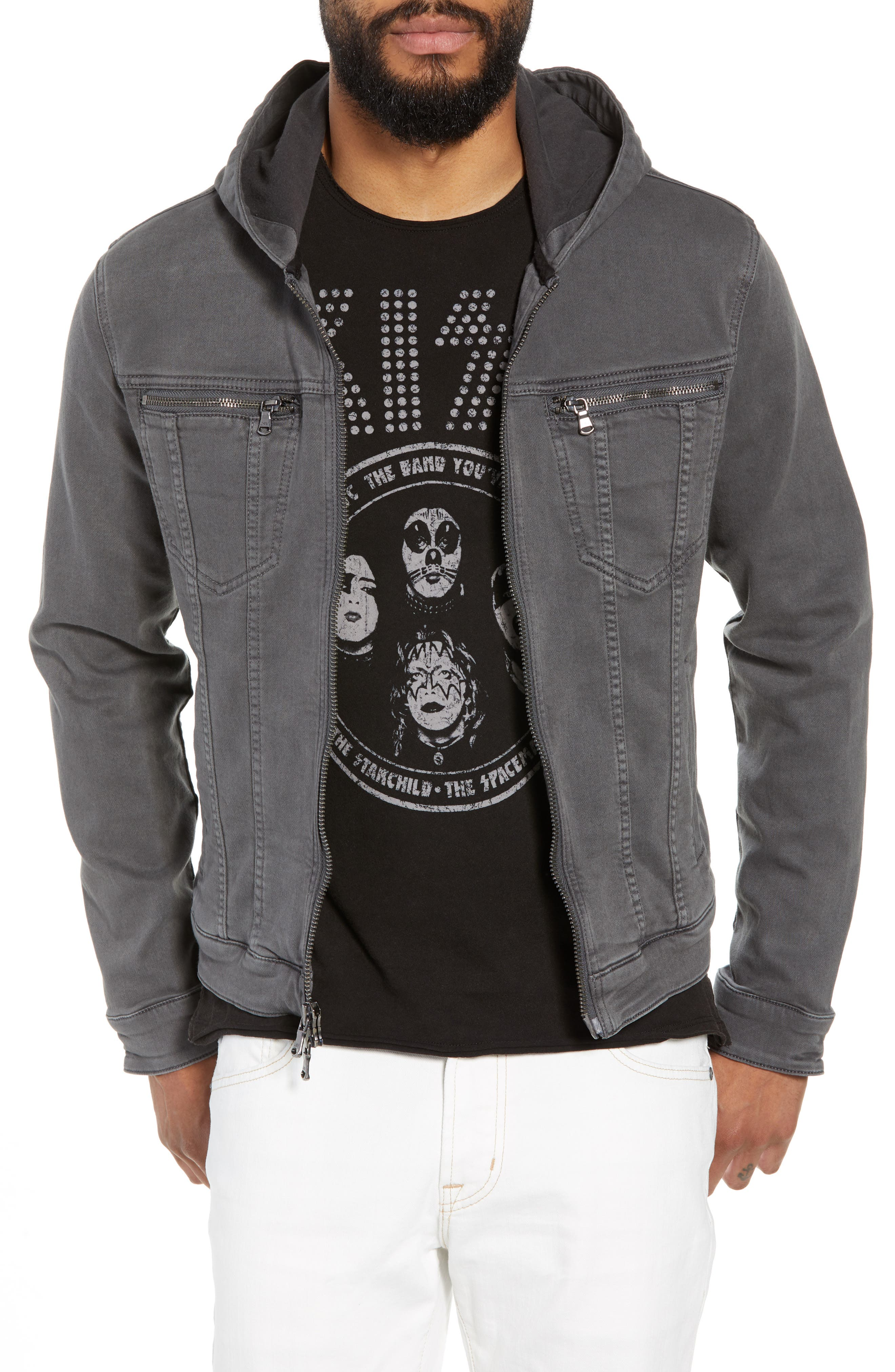 Hooded Denim Jacket,                         Main,                         color, 020