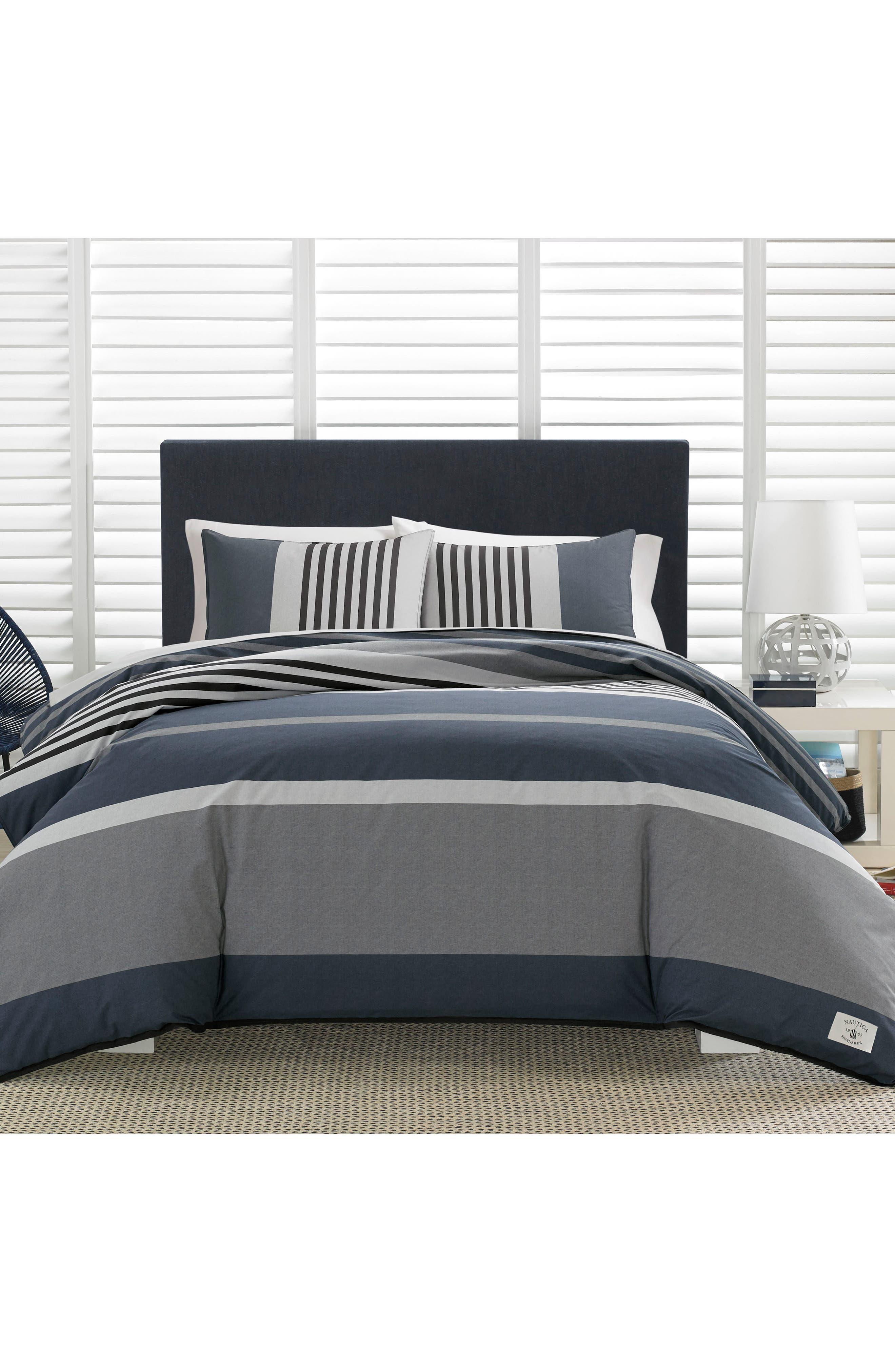 Rendon Stripe Comforter & Sham Set,                             Main thumbnail 1, color,                             CHARCOAL