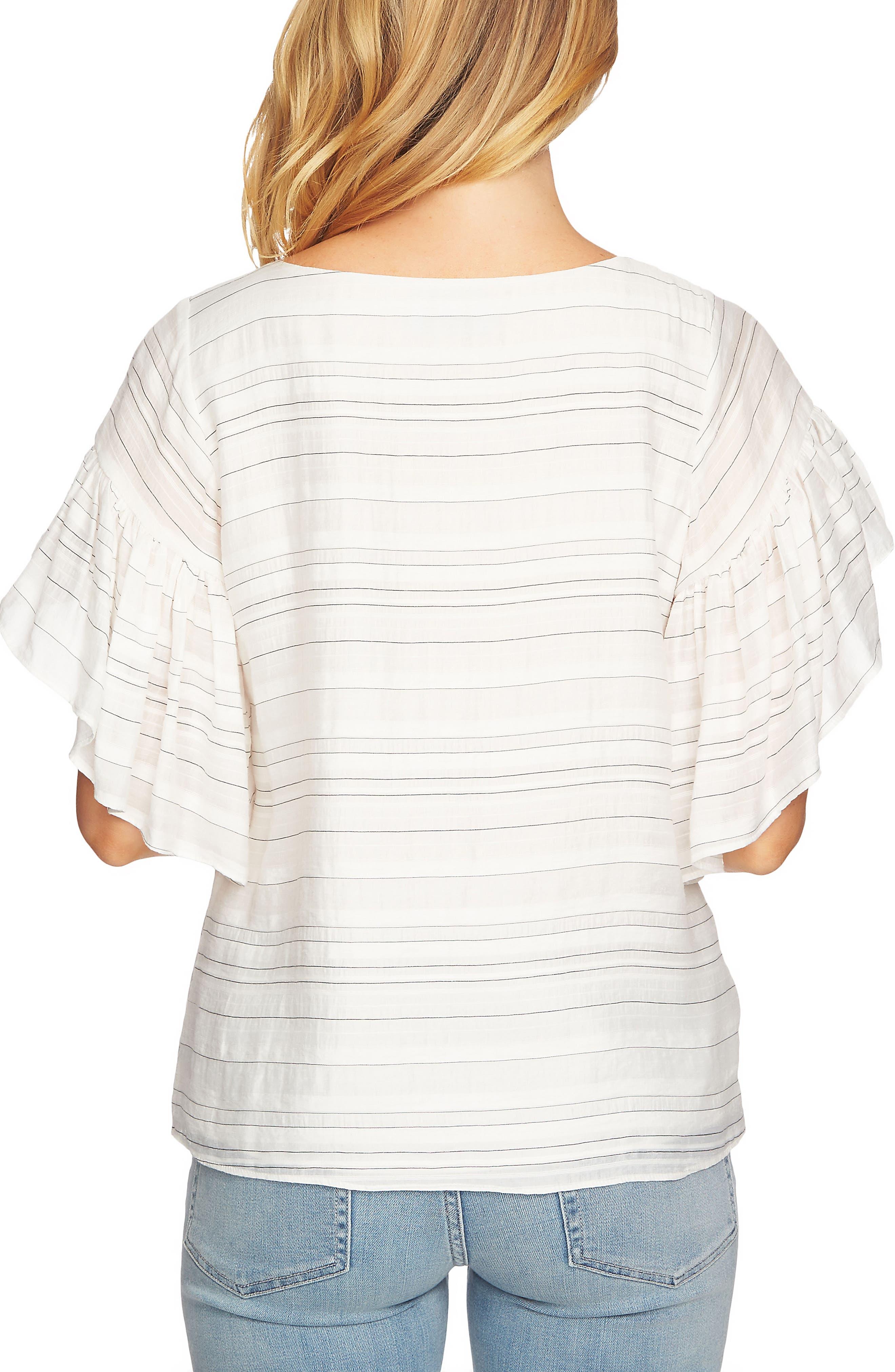 Flutter Sleeve Stripe Blouse,                             Alternate thumbnail 2, color,                             145