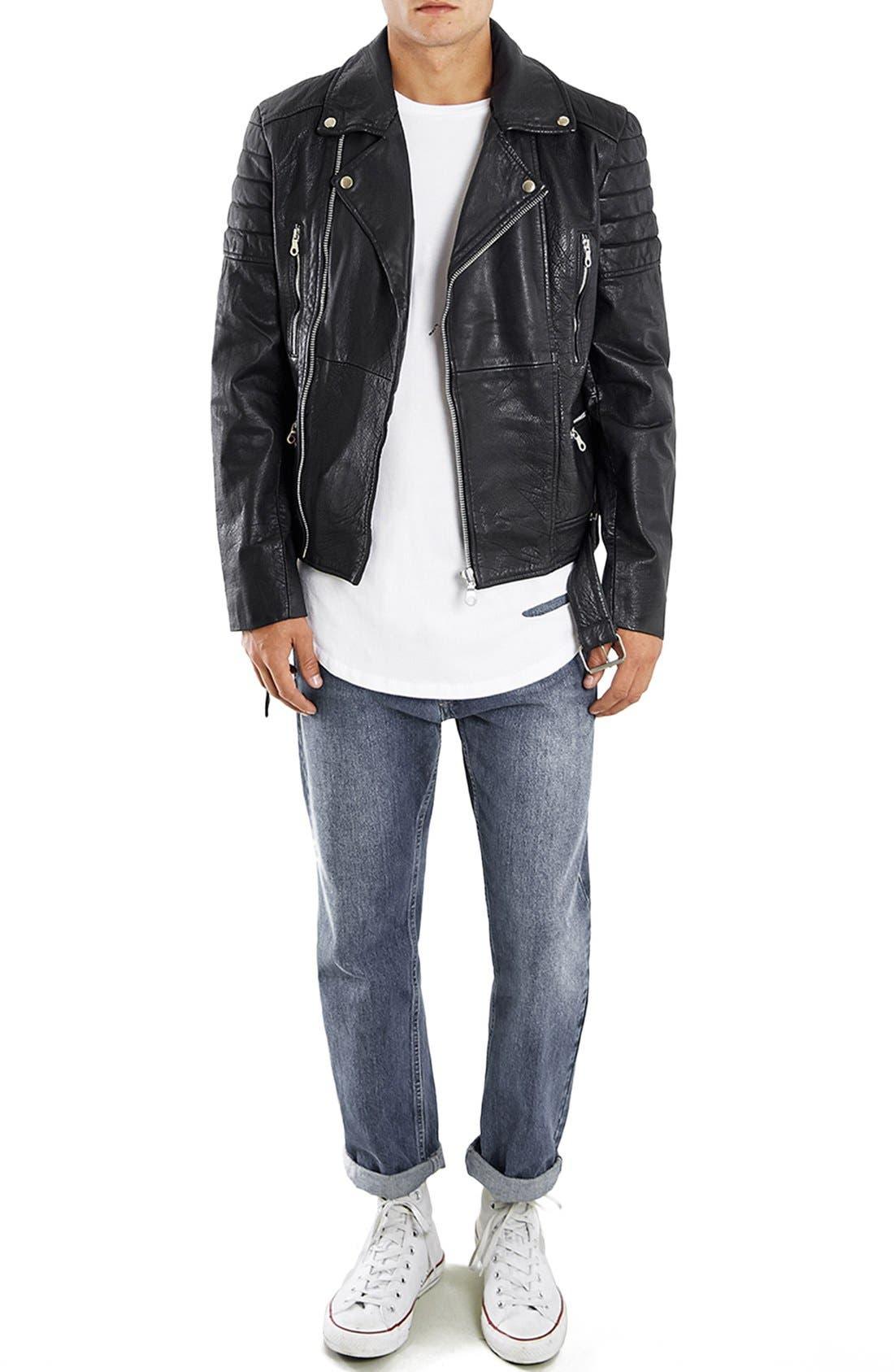 Washed Leather Moto Jacket with Waist Belt,                             Alternate thumbnail 2, color,                             001