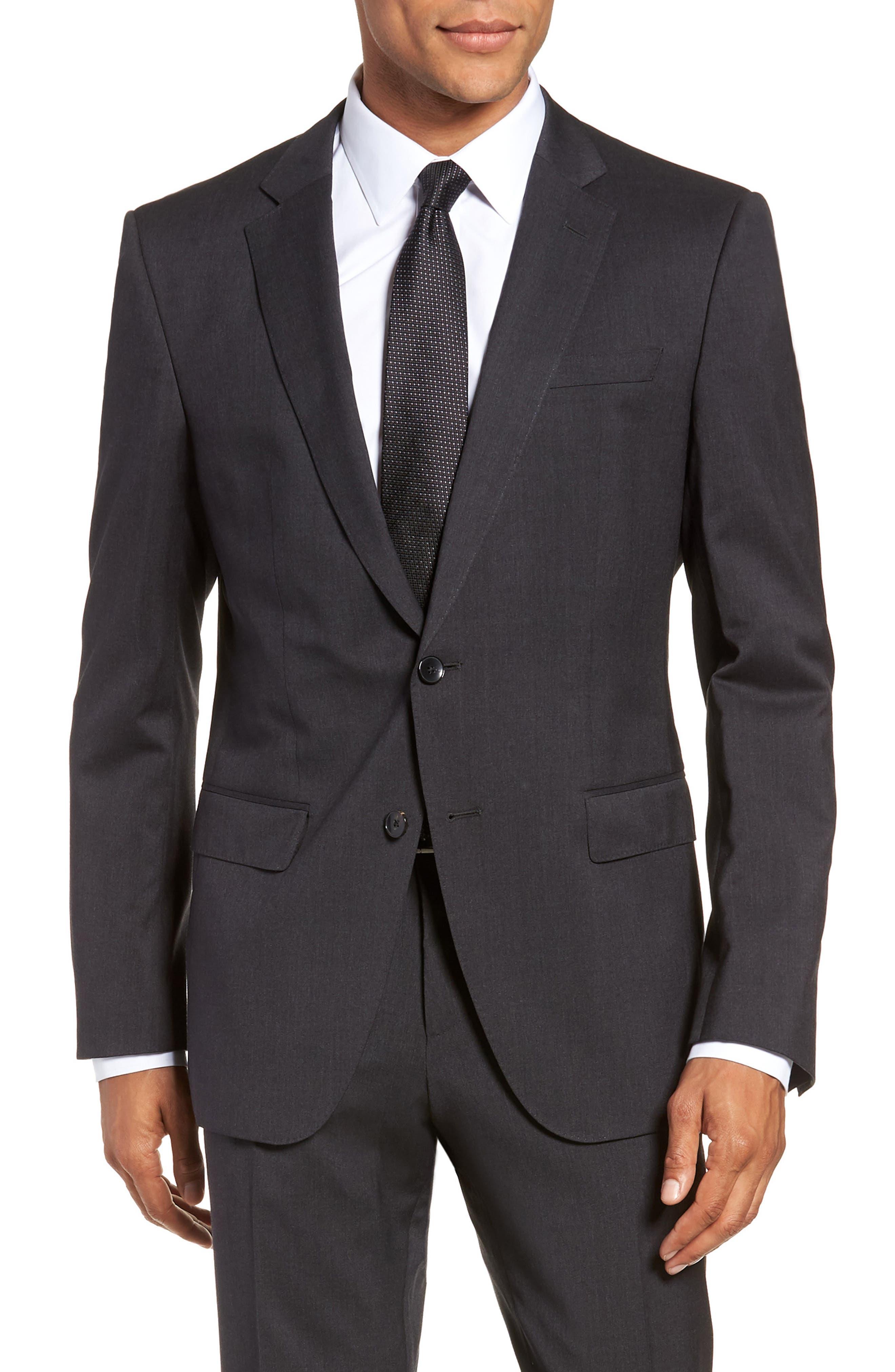 Huge/Genius Trim Fit Solid Wool Suit,                             Alternate thumbnail 5, color,                             DARK GREY