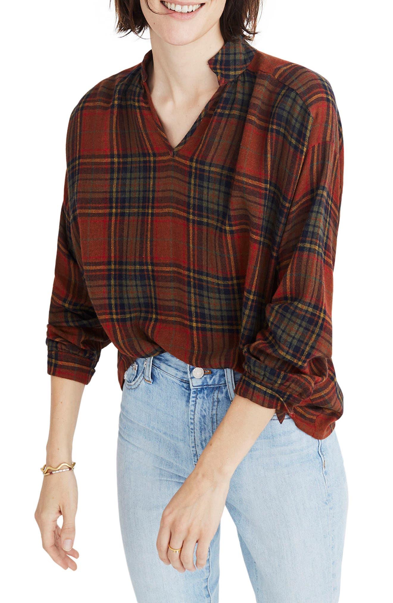 Highroad Plaid Popover Shirt,                         Main,                         color, 800