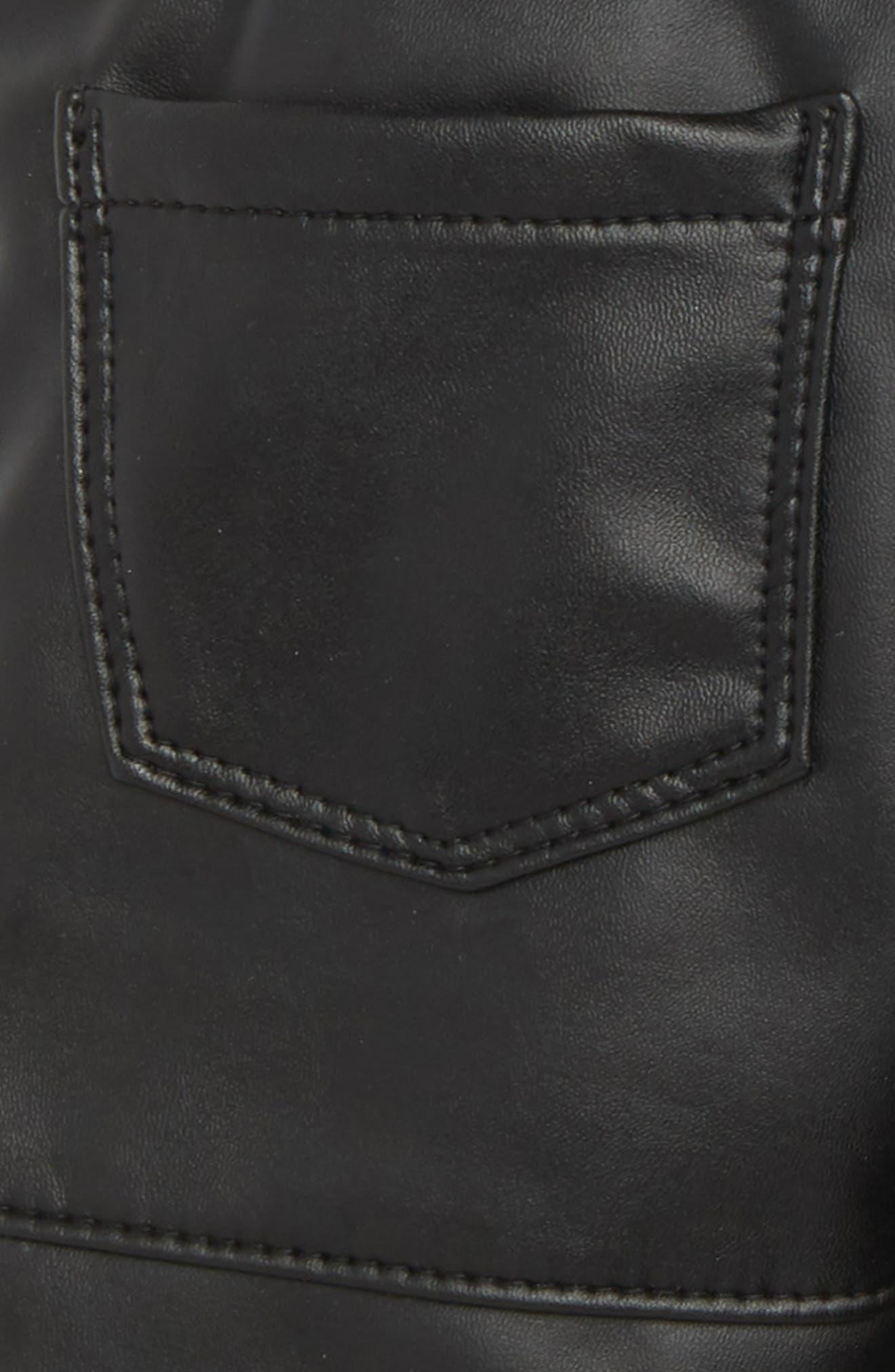 Faux Leather Leggings,                             Alternate thumbnail 3, color,                             001