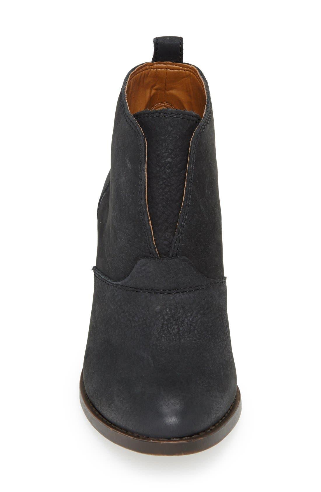 'Ehllen' Textured Leather Bootie,                             Alternate thumbnail 4, color,                             001