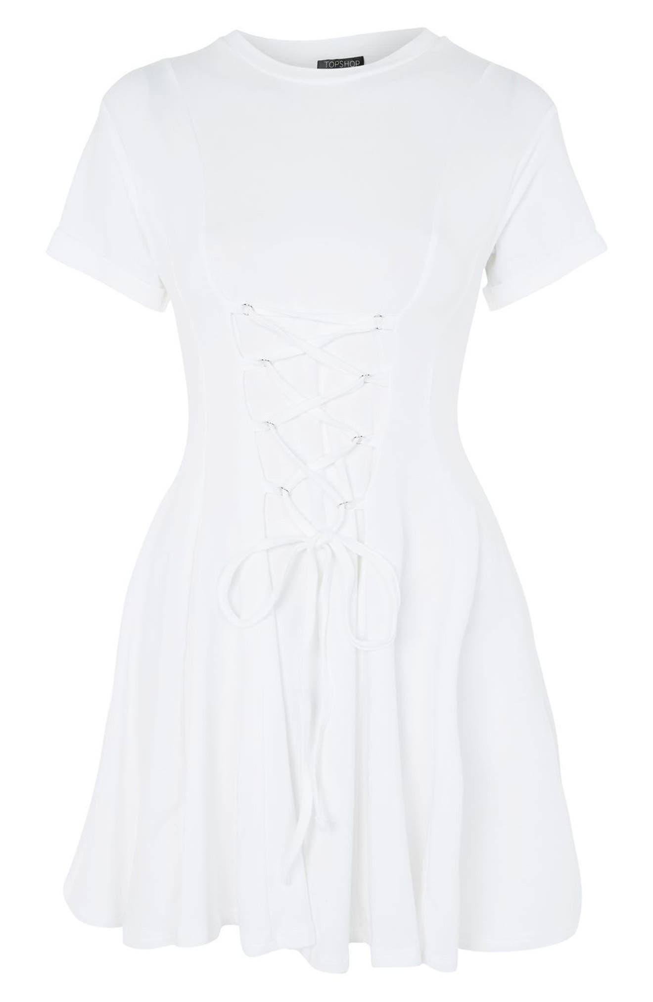 Corset Front Flippy Tunic Dress,                             Alternate thumbnail 6, color,