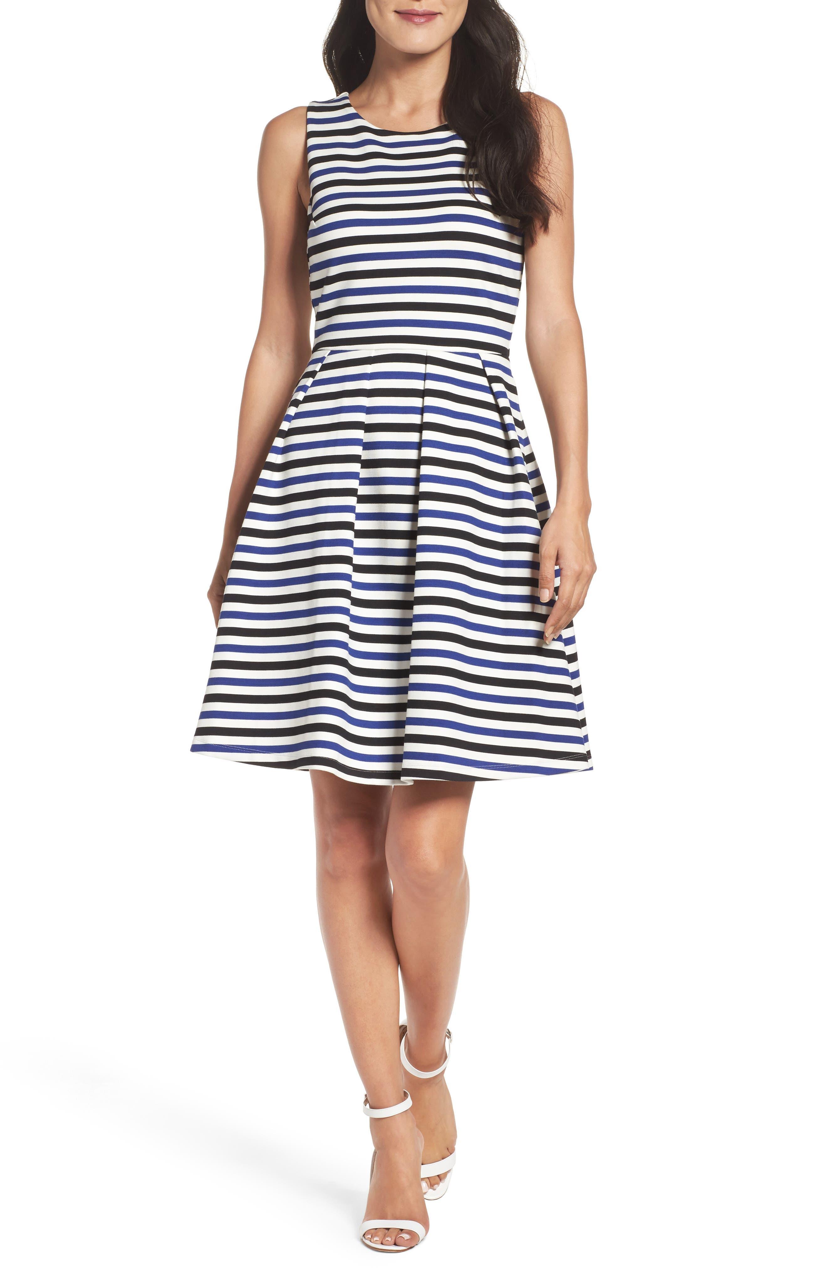 Ming Stripe Fit & Flare Dress,                         Main,                         color, 100