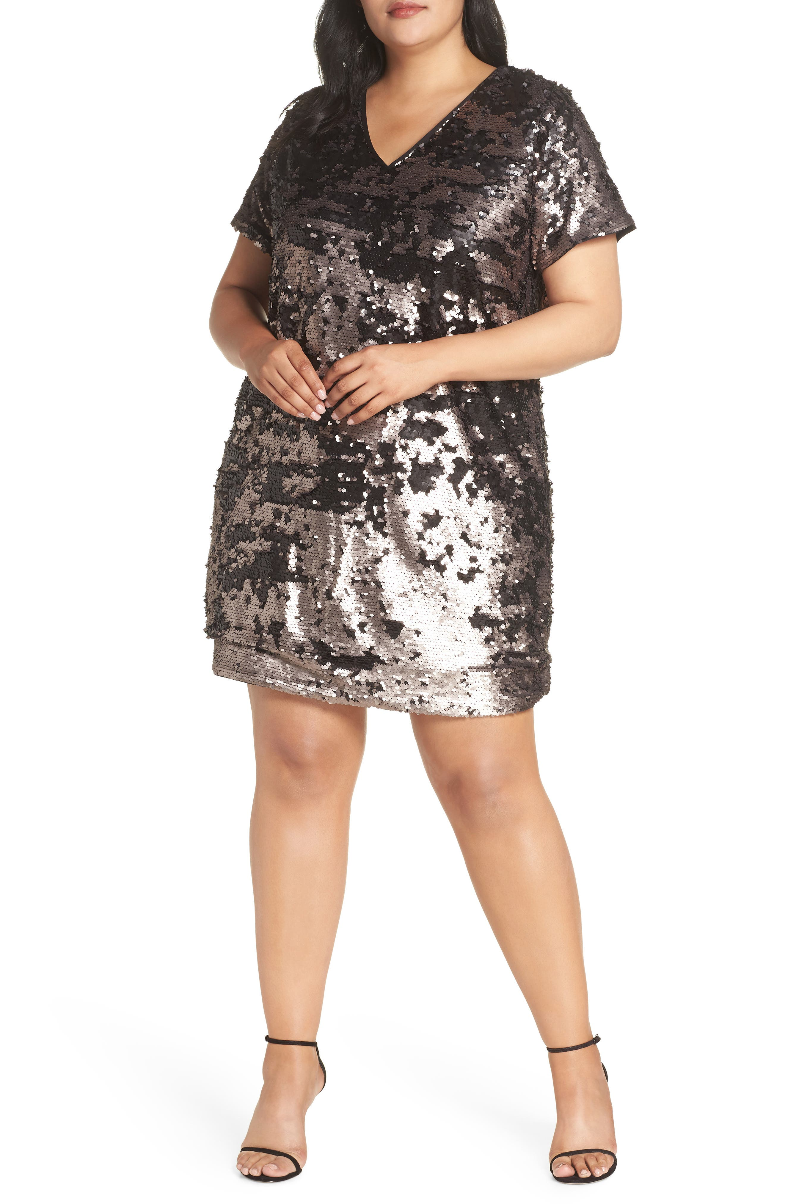 60s 70s Plus Size Dresses, Clothing, Costumes Plus Size Womens 1.state Sequin Shift Dress $139.00 AT vintagedancer.com