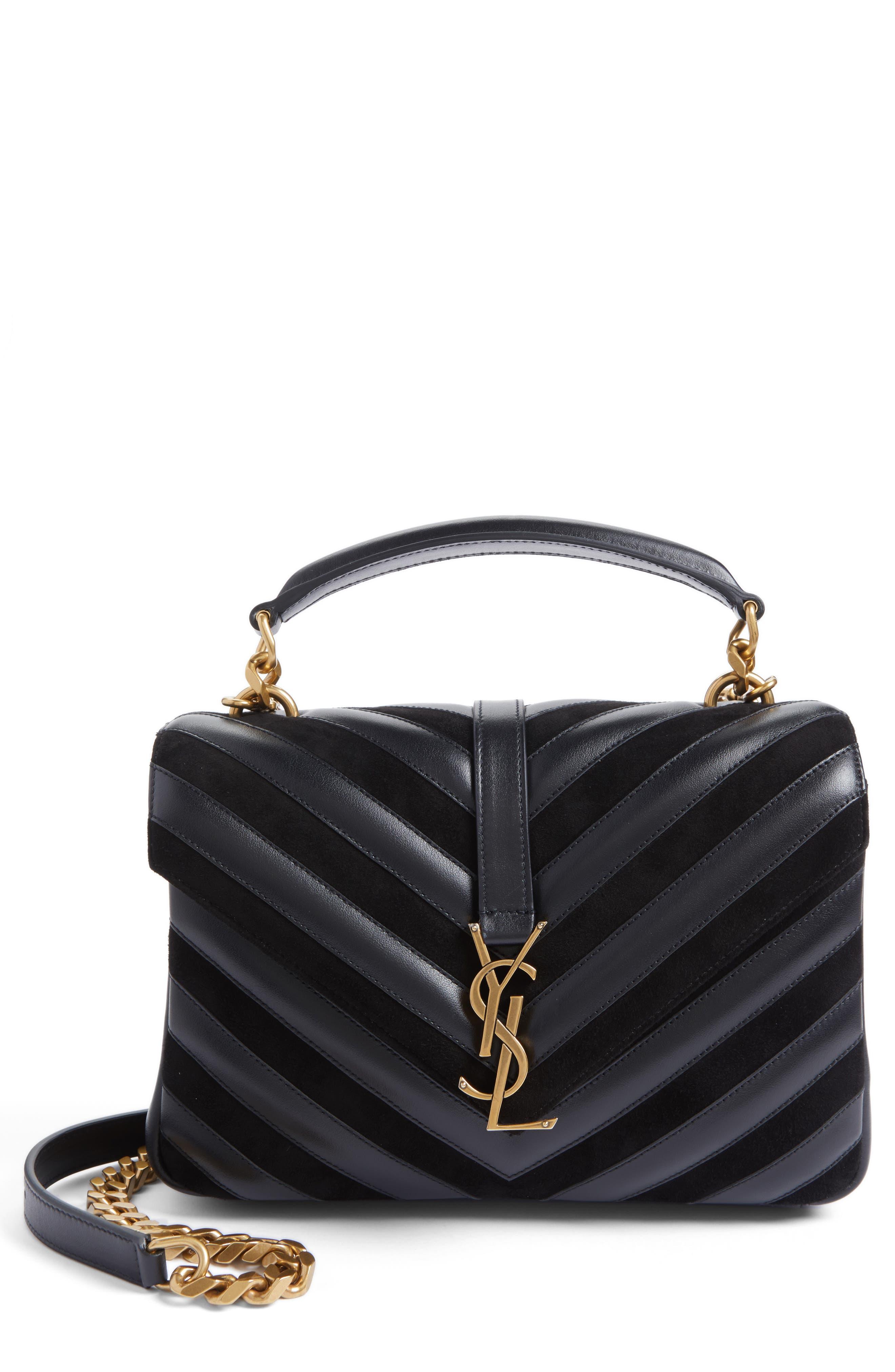 Medium College Patchwork Suede & Leather Shoulder Bag,                             Main thumbnail 1, color,                             001