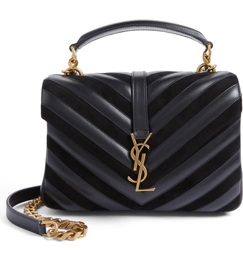 Saint Laurent Medium College Patchwork Suede   Leather Shoulder Bag ... 006ed5f974c82