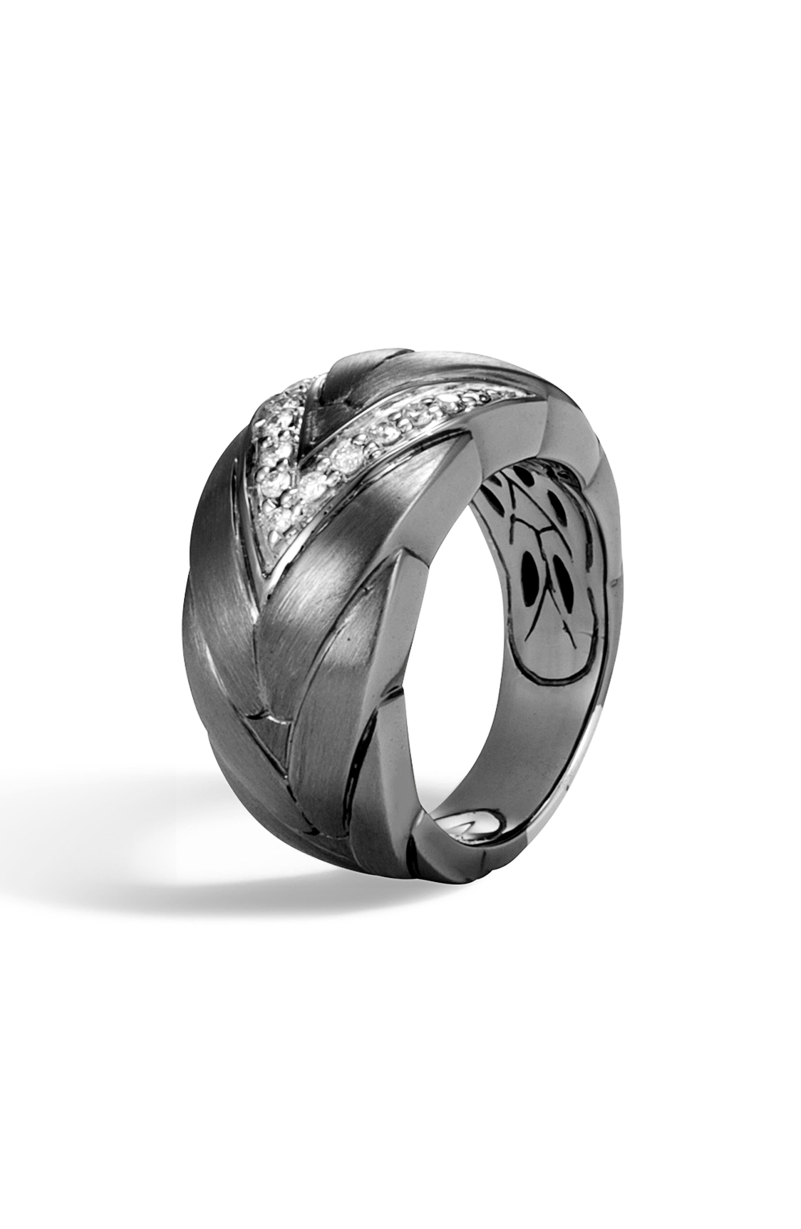 Modern Chain Medium Diamond Ring in Silver/ Diamond/ Black Rhodium