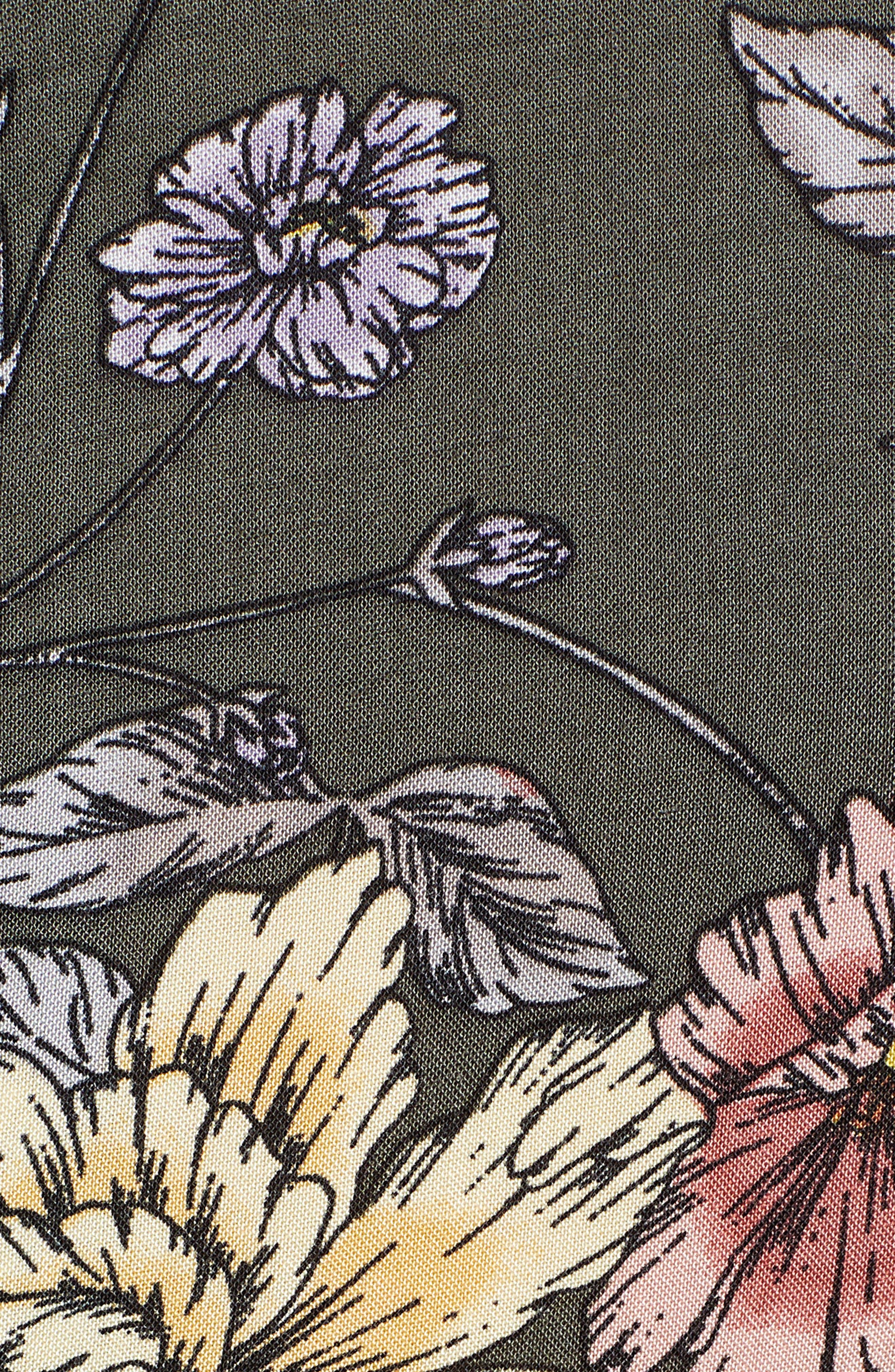 Floral Print Tie Waist Jumpsuit,                             Alternate thumbnail 6, color,                             OLIVE FLORAL