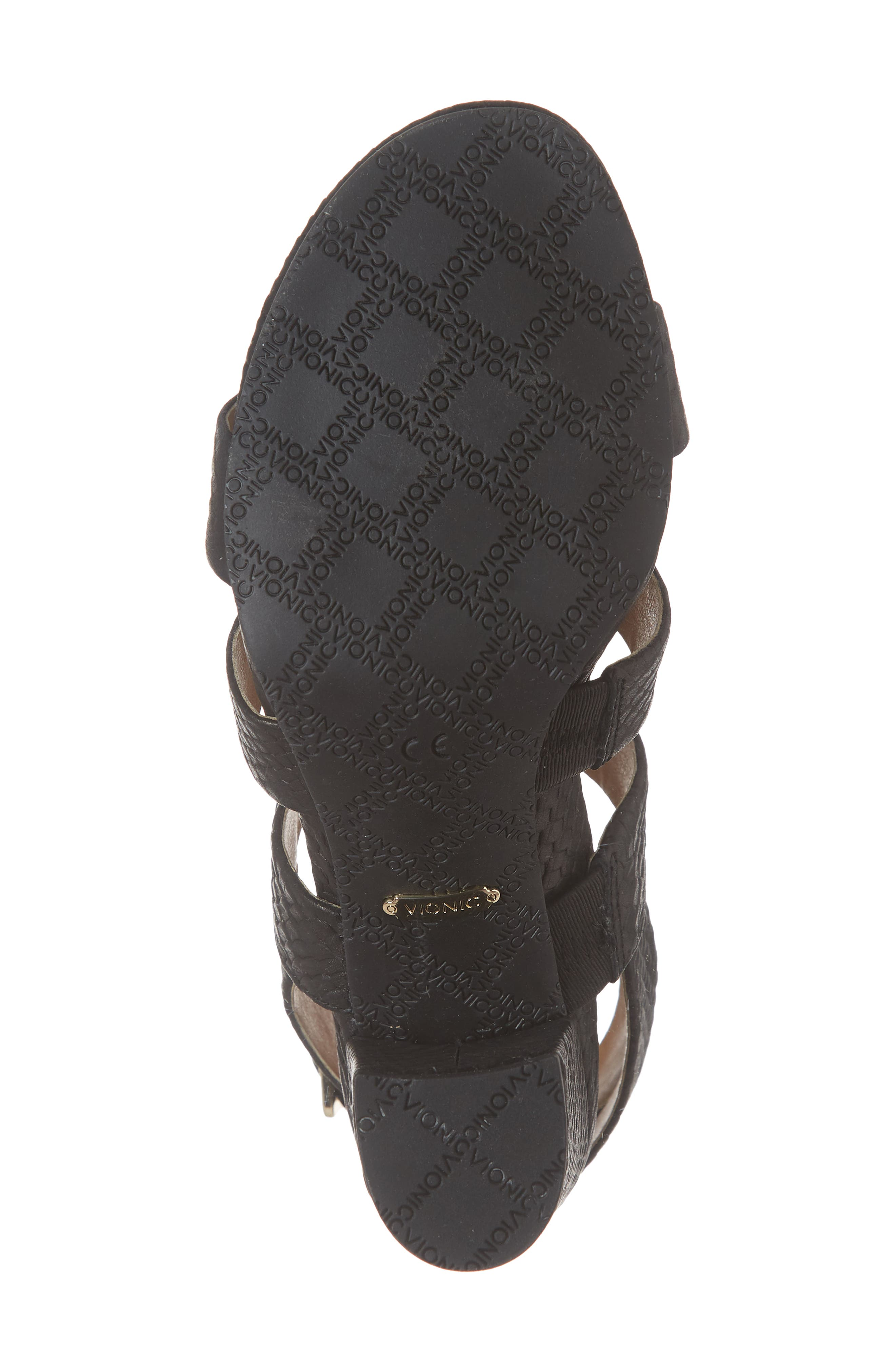 Blaire Block Heel Sandal,                             Alternate thumbnail 6, color,                             BLACK SNAKE EMBOSSED LEATHER