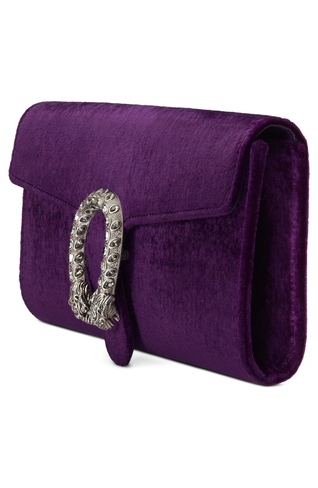 Dionysus Velvet Clutch,                             Alternate thumbnail 4, color,                             VIOLA/ BLACK DIAMOND