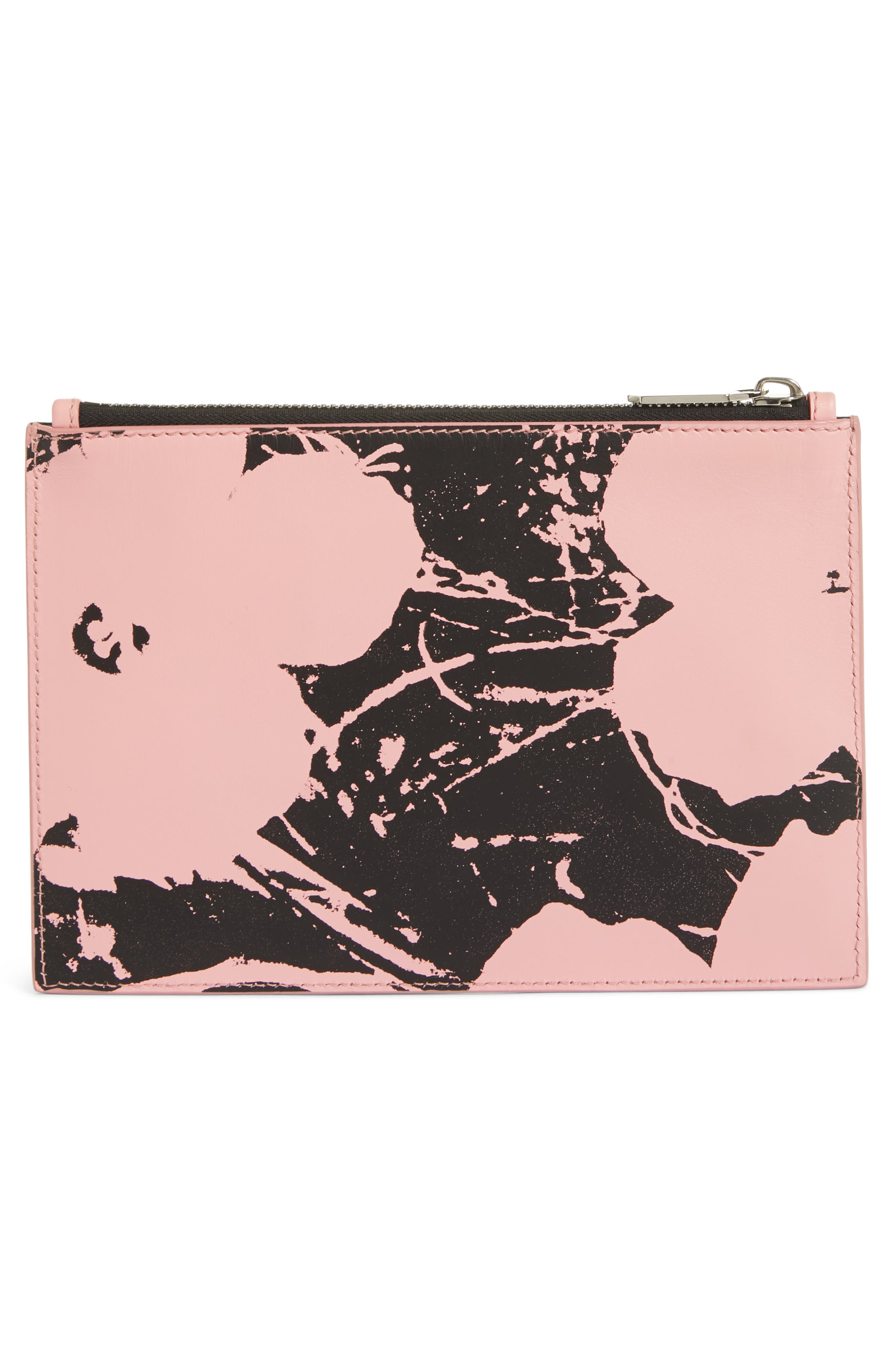 x Andy Warhol Foundation Flowers Leather Pouch,                             Alternate thumbnail 3, color,                             PINK/ BLACK