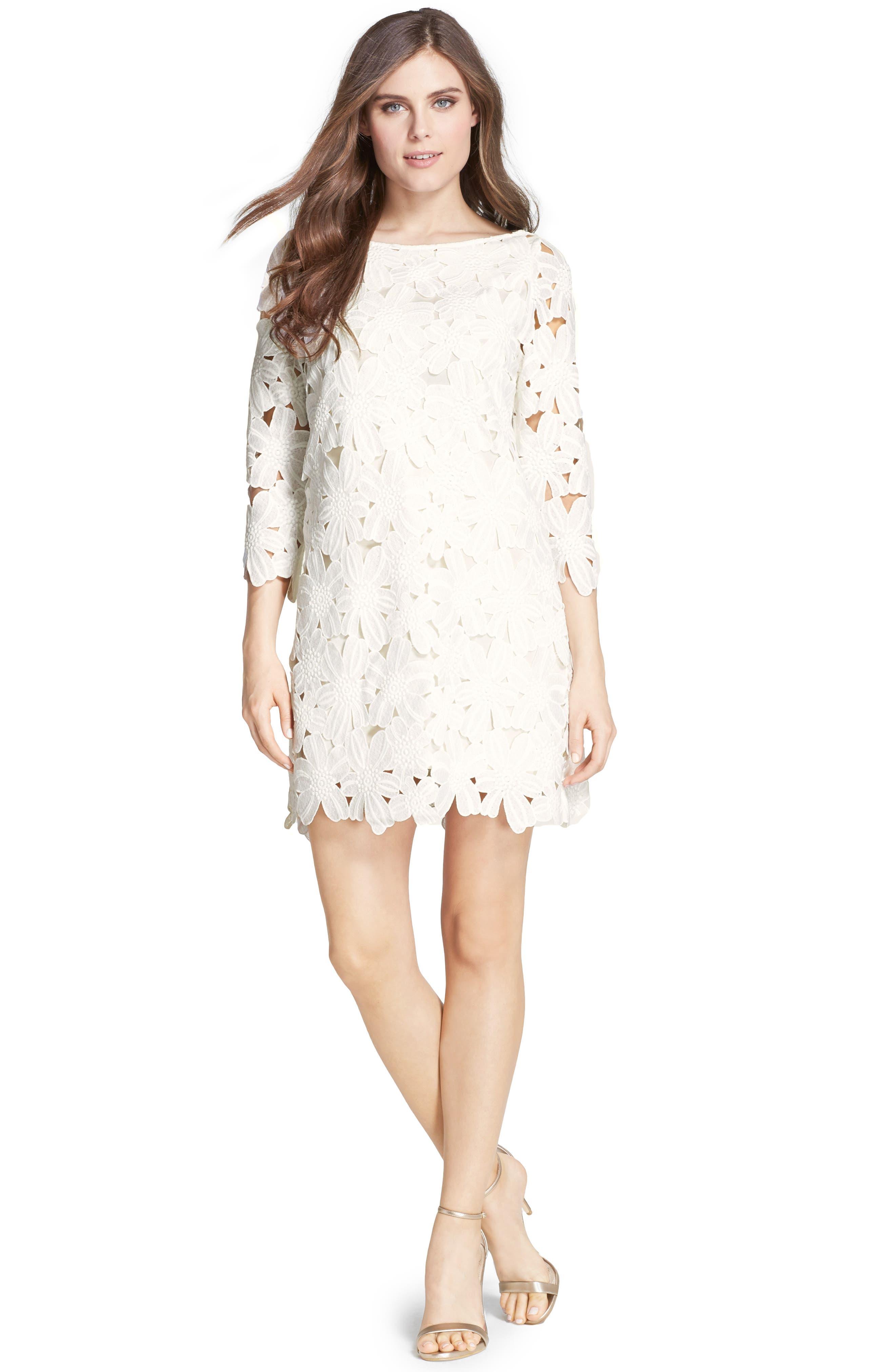 Belza Floral Lace Shift Dress,                             Alternate thumbnail 9, color,                             100