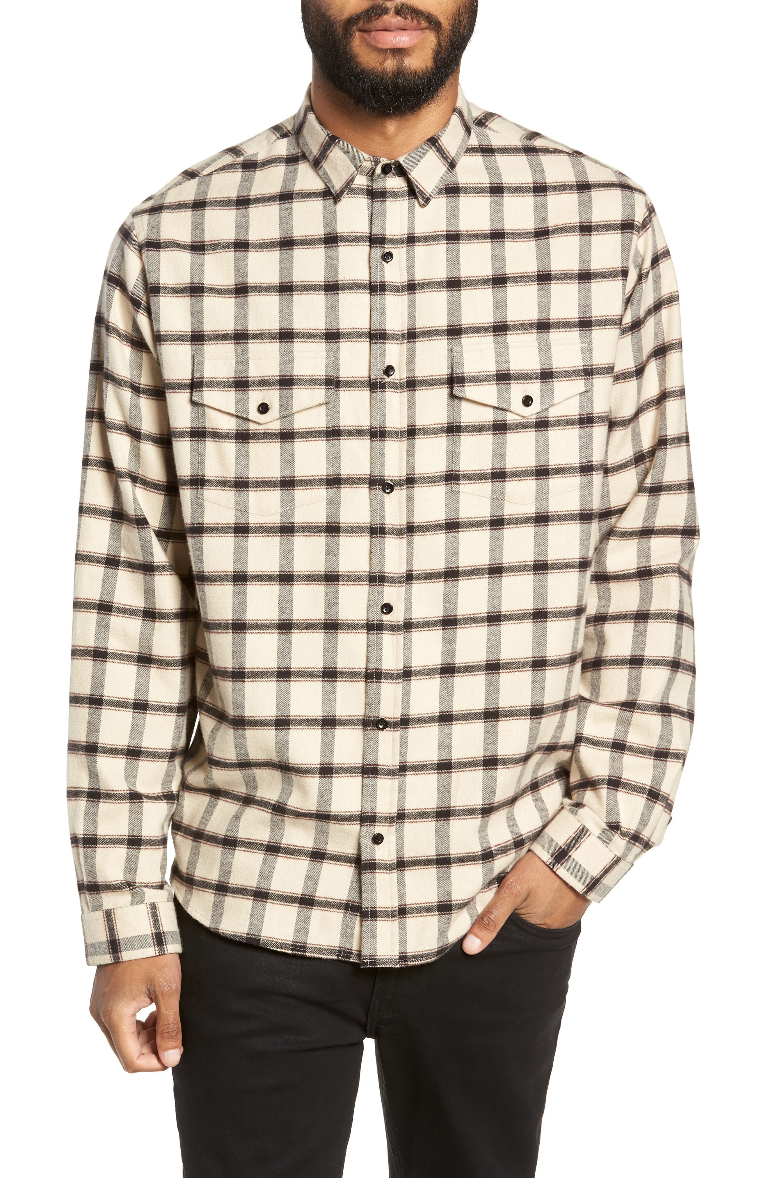 Long Sleeve Plaid Regular Fit Sport Shirt, Main, color, BEIGE/ BLACK