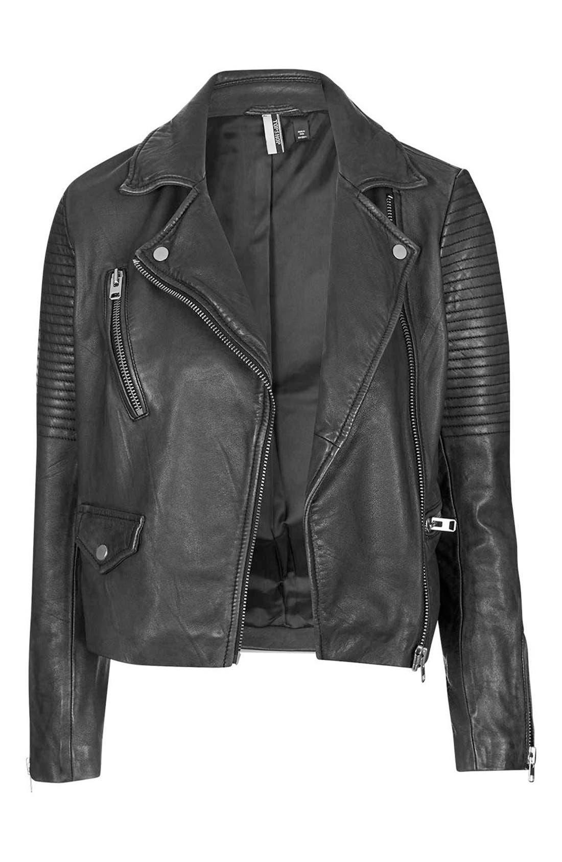 'Orbit' Leather Moto Jacket,                             Alternate thumbnail 4, color,                             001