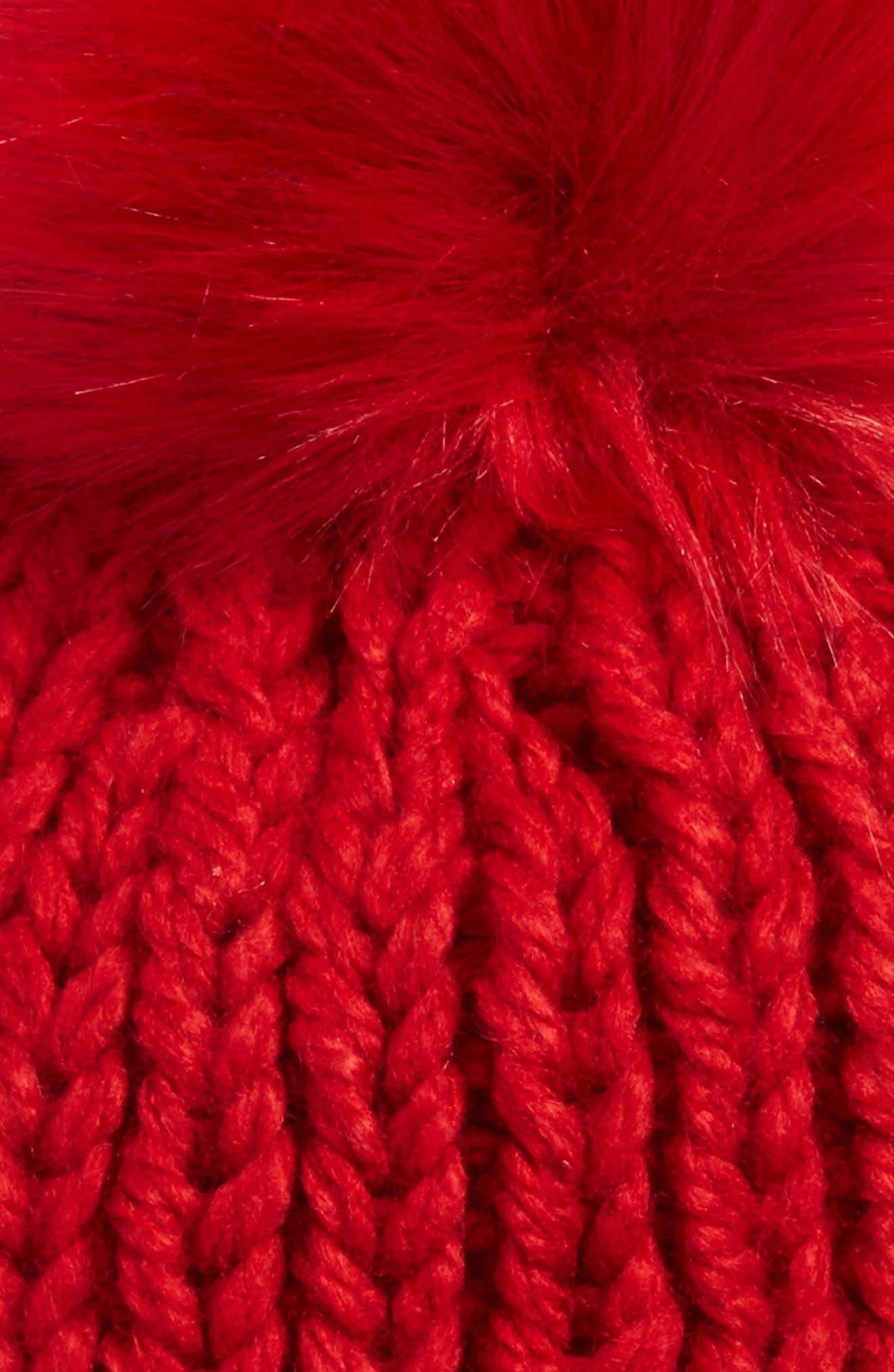 Happy Trails Faux Fur Pom Beanie,                             Alternate thumbnail 7, color,