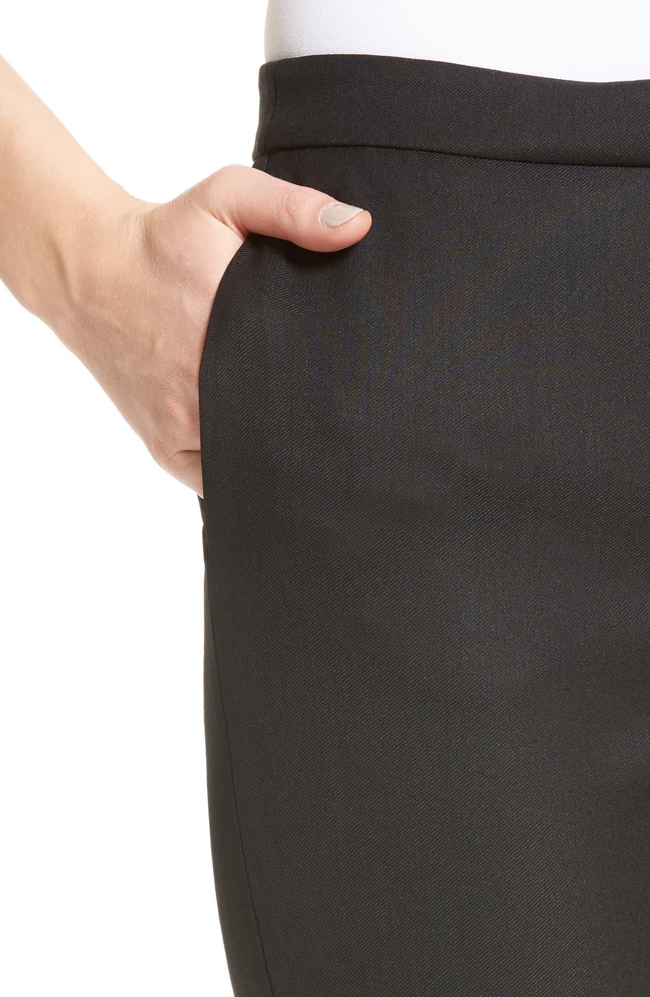 Wool Blend Skinny Pants,                             Alternate thumbnail 4, color,                             001