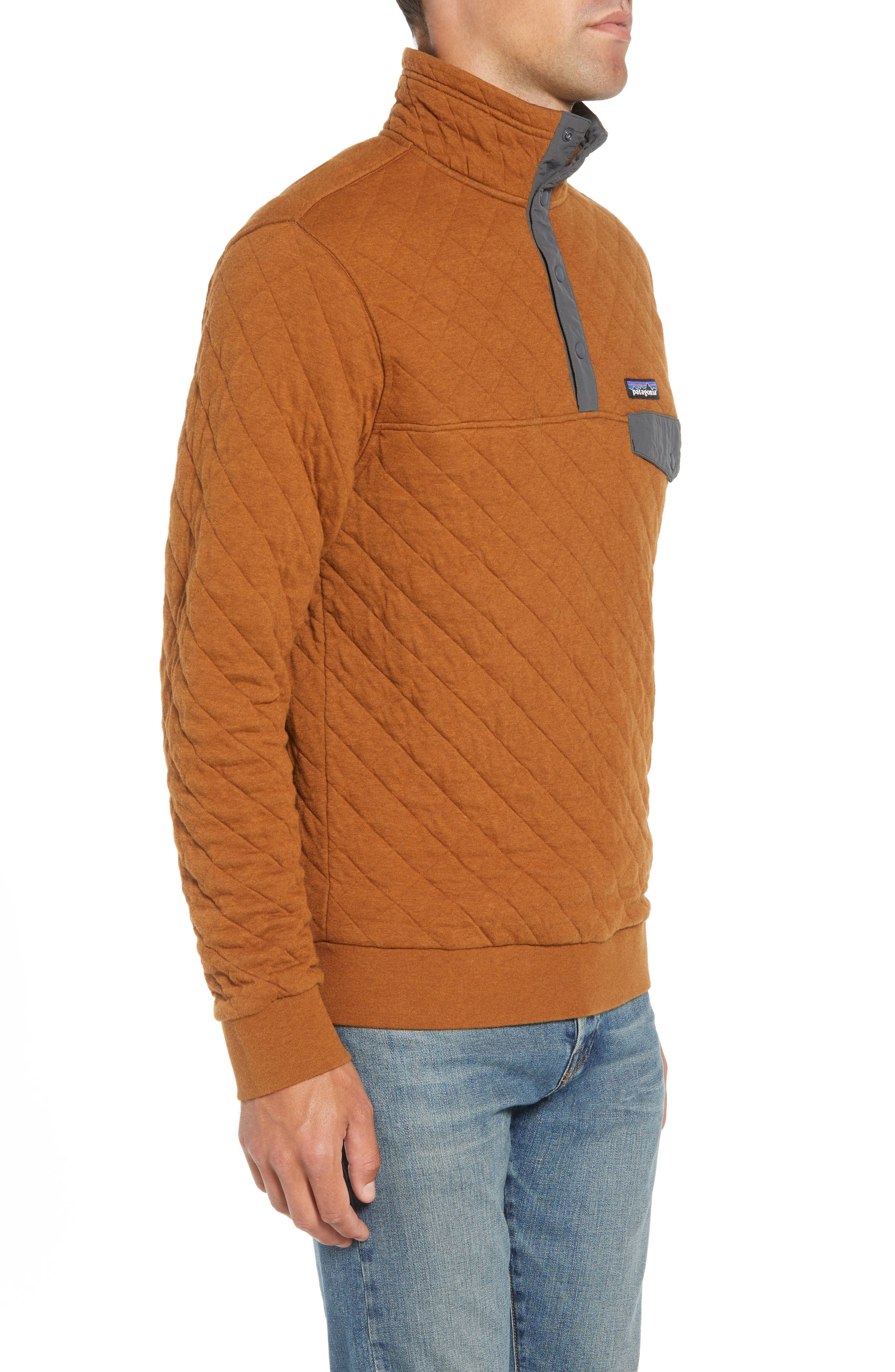 Snap-T<sup>®</sup> Quilted Fleece Pullover,                             Alternate thumbnail 3, color,                             BENCE BROWN