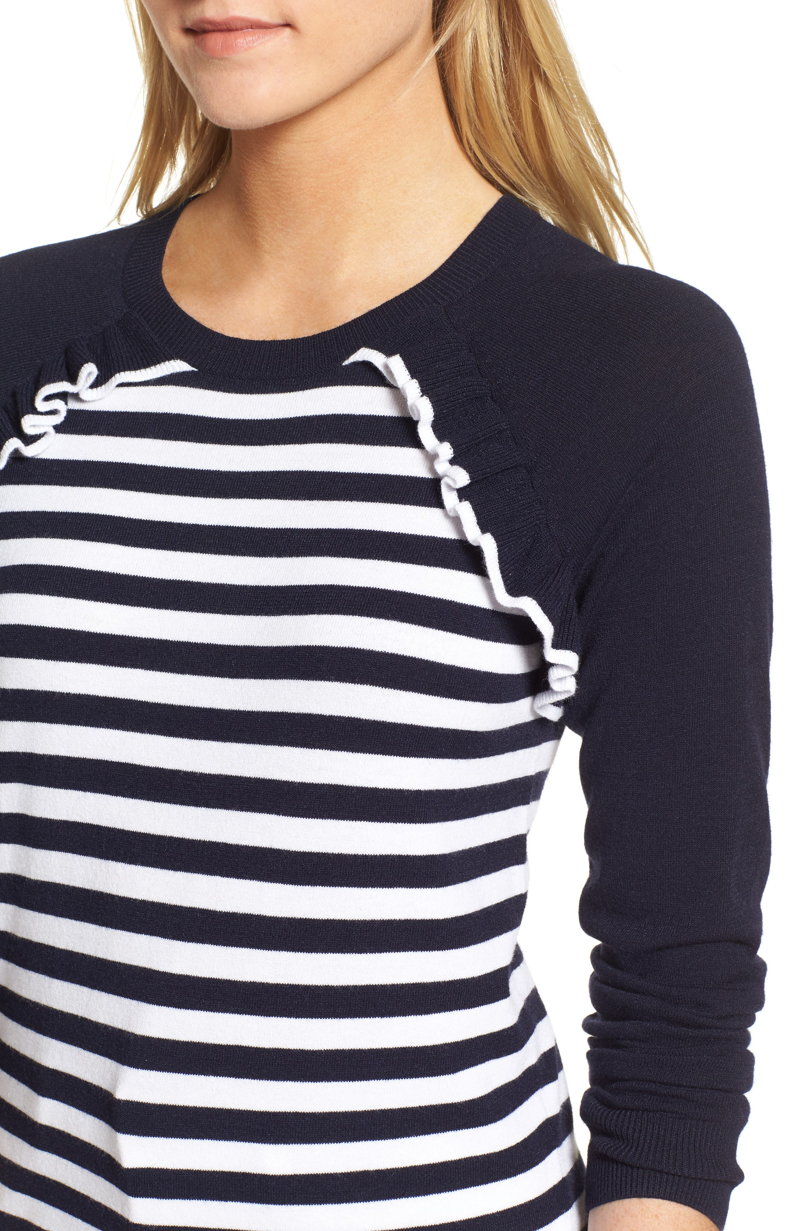 Ruffle Trim Stripe Sweater,                             Alternate thumbnail 11, color,