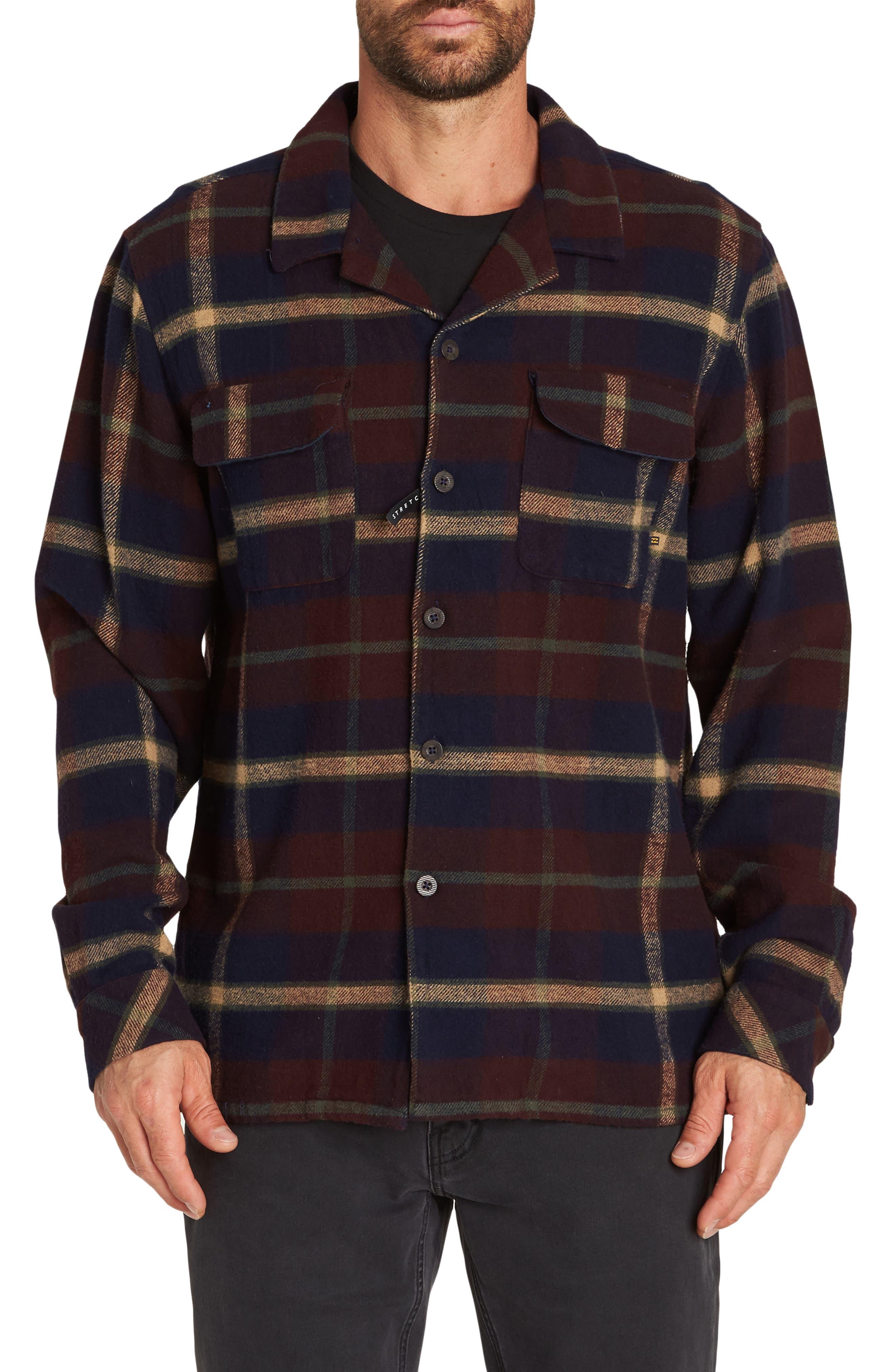Billabong The Point Plaid Flannel Shirt Jacket, Blue