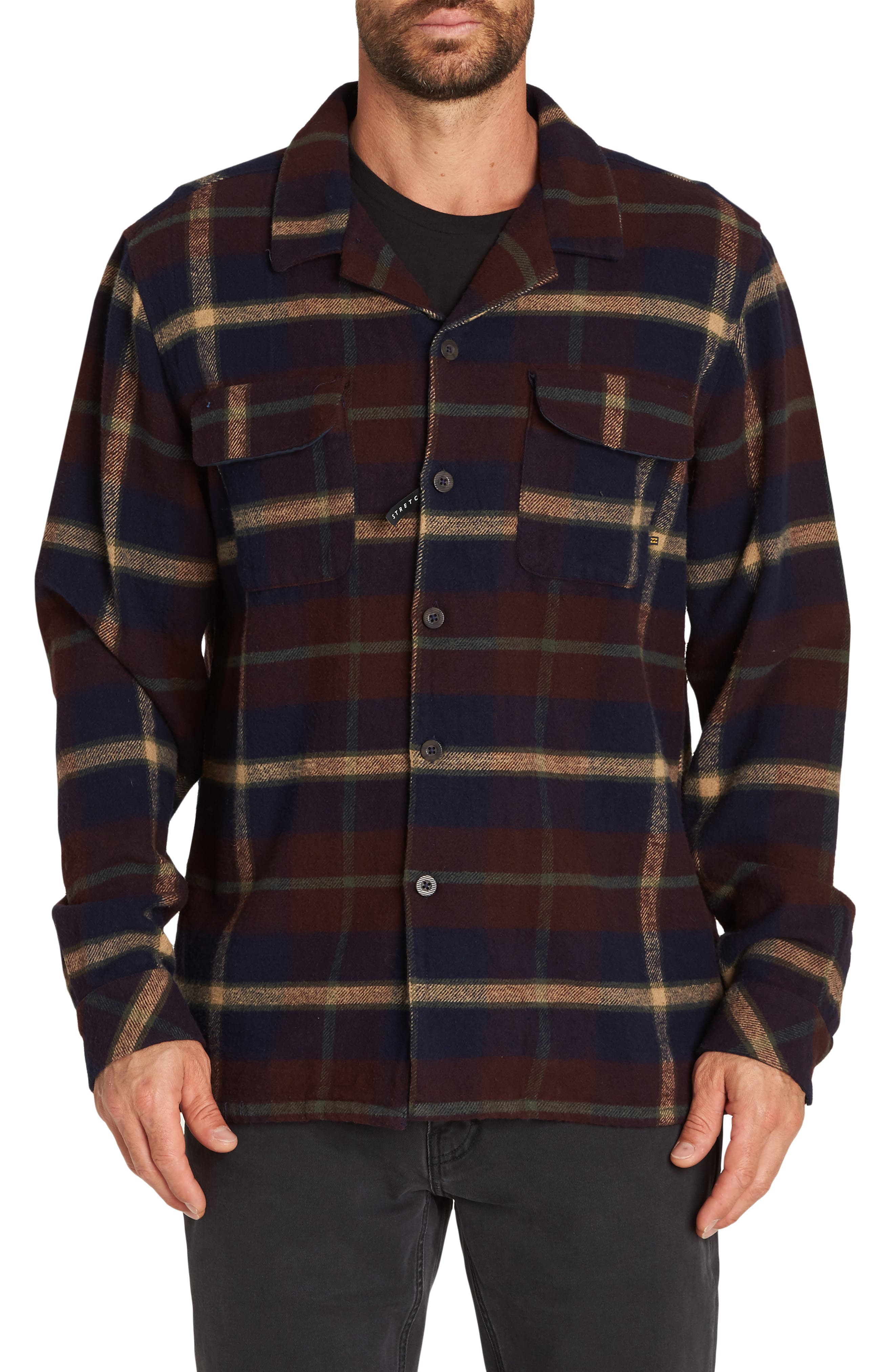 BILLABONG The Point Plaid Flannel Shirt Jacket, Main, color, NAVY