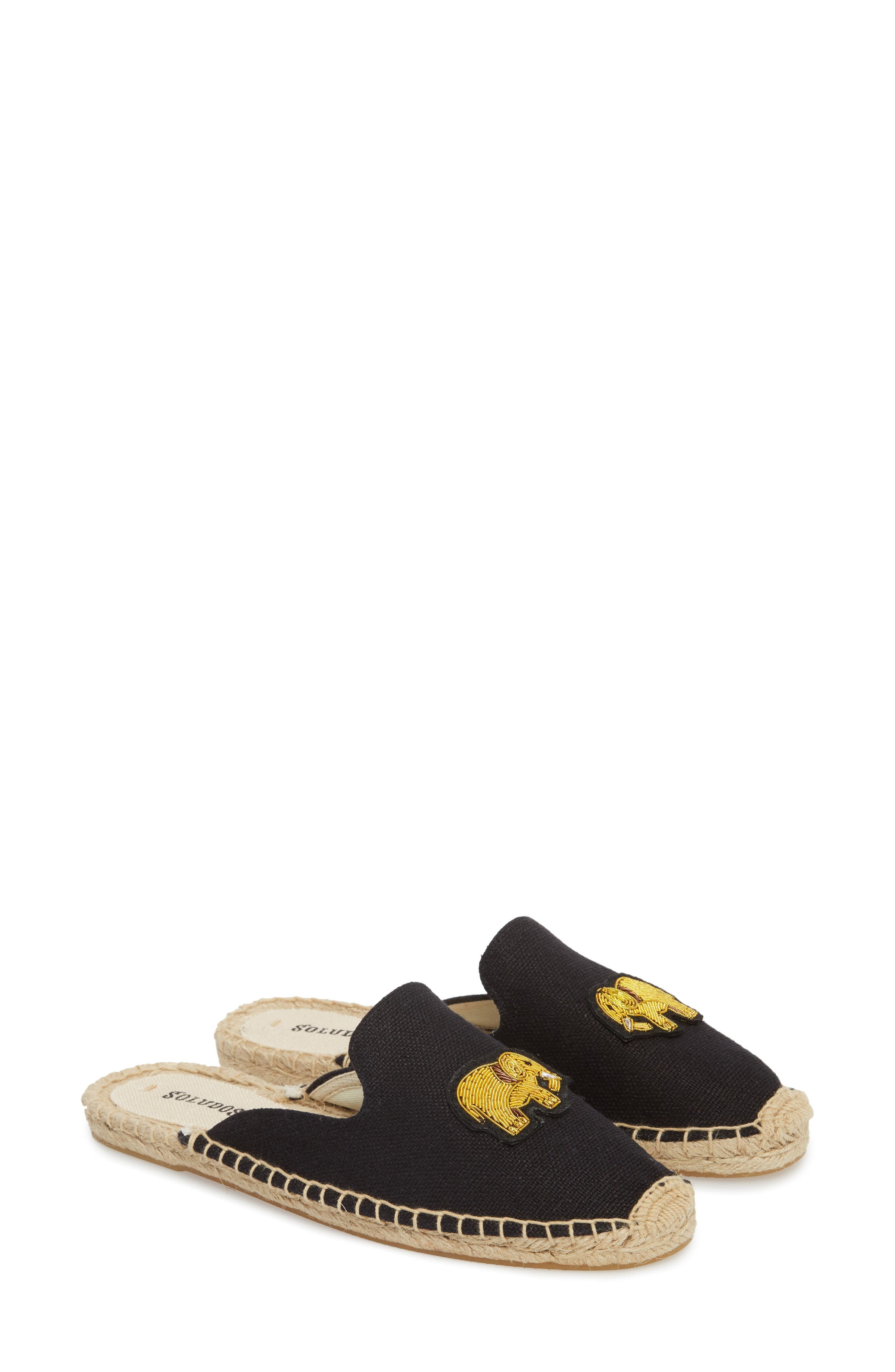 Elephant Beaded Espadrille Mule,                             Alternate thumbnail 2, color,                             001