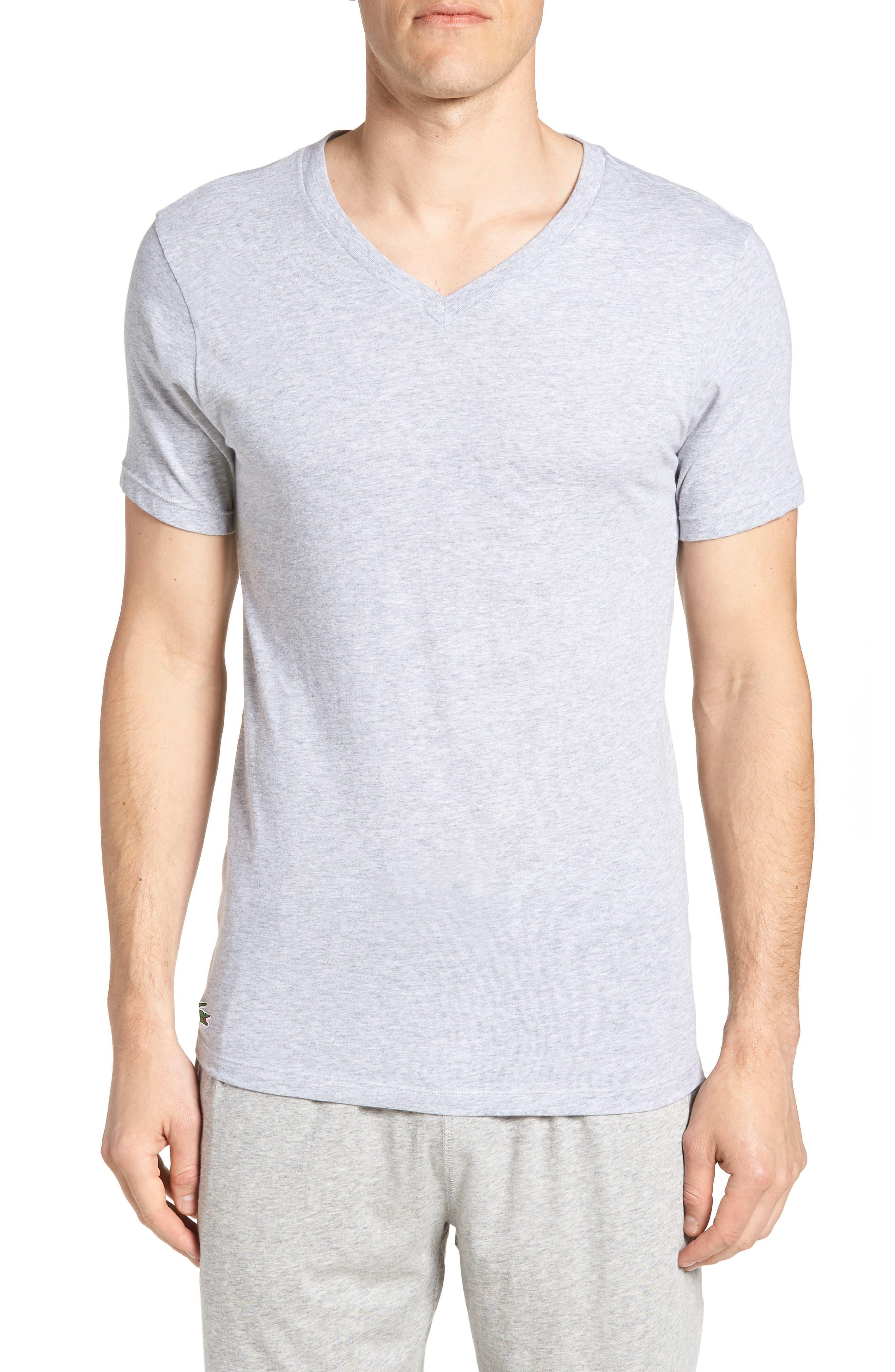 LACOSTE,                             3-Pack Slim Fit V-Neck T-Shirts,                             Main thumbnail 1, color,                             BLACK/ GREY/ WHITE