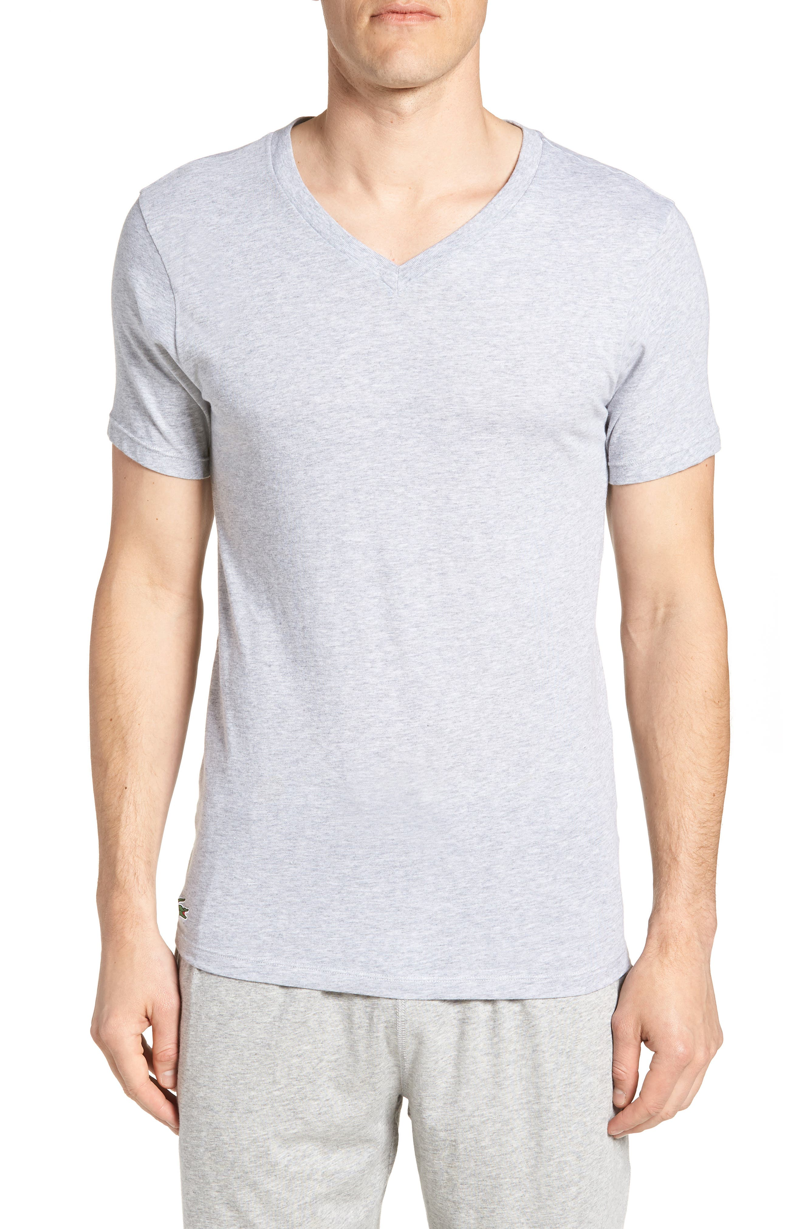 LACOSTE 3-Pack Slim Fit V-Neck T-Shirts, Main, color, BLACK/ GREY/ WHITE