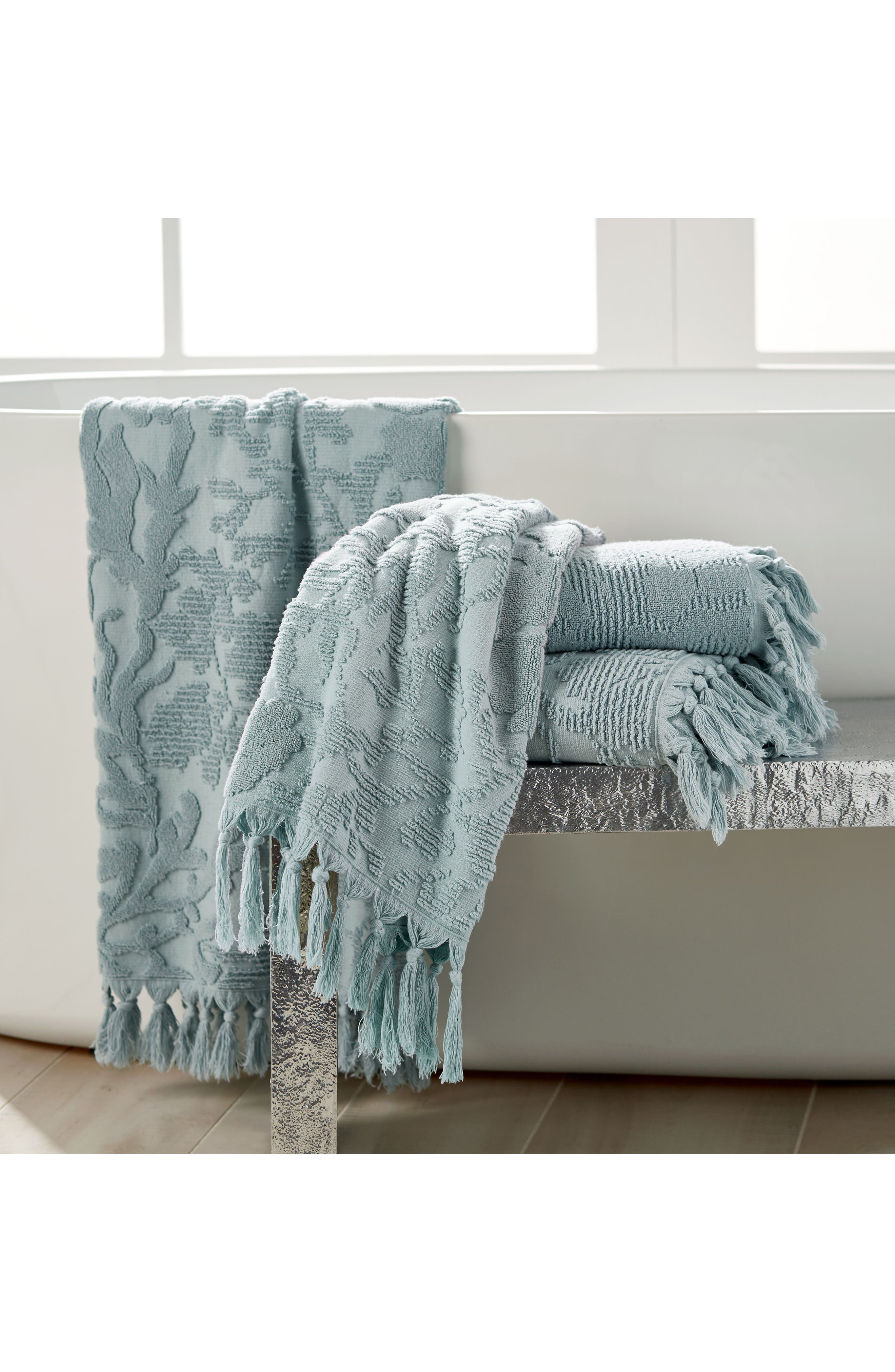 Ocean Reef Bath Towel,                             Alternate thumbnail 5, color,                             SEAFOAM