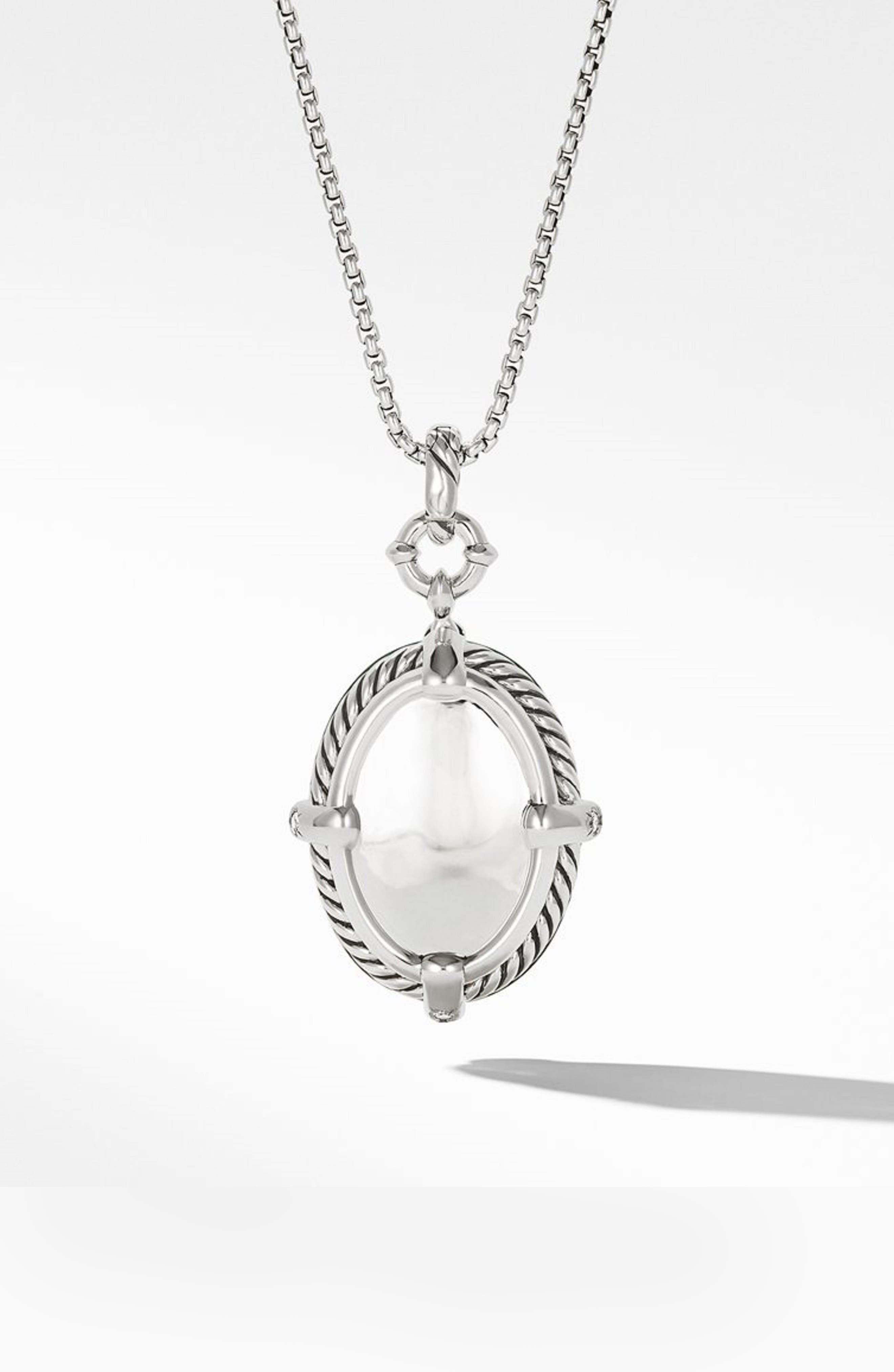 DAVID YURMAN,                             Statement Prasiolite Pendant Necklace with Diamonds,                             Alternate thumbnail 3, color,                             SILVER/ DIAMOND/ PRASIOLITE