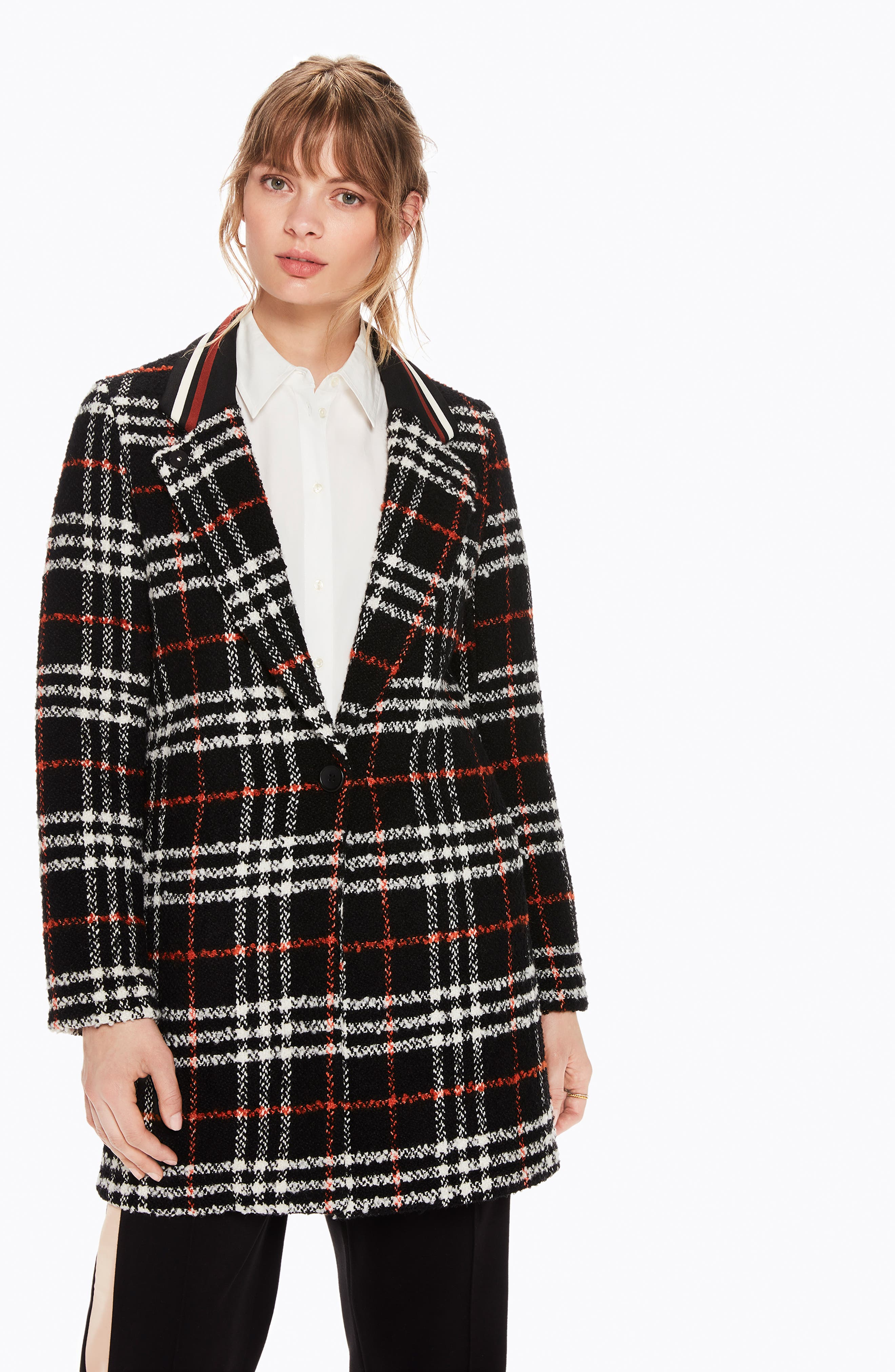 Bonded Wool Blend Jacket,                             Alternate thumbnail 4, color,                             BLACK AND RED PLAID