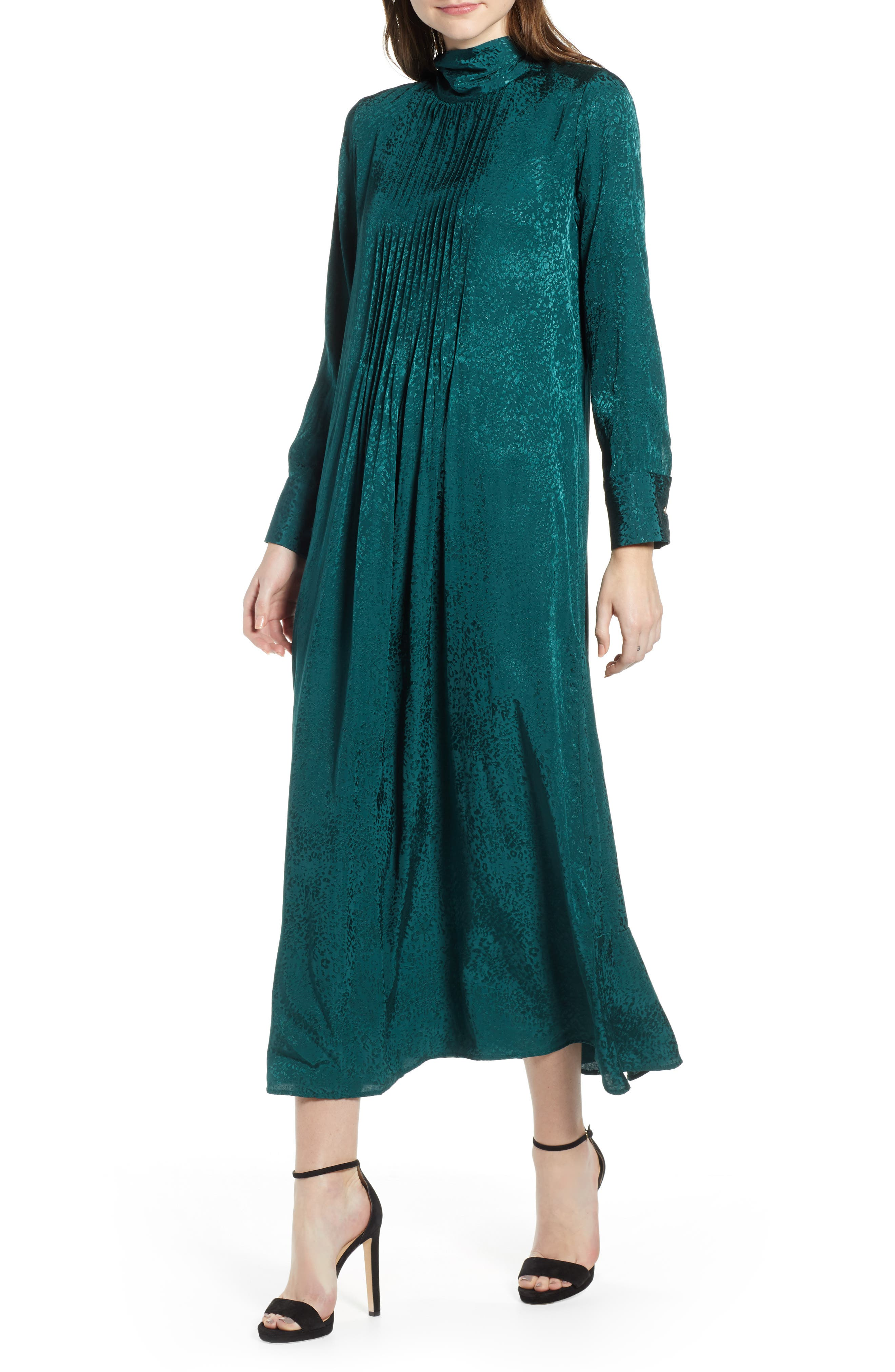 Jacquard Pintuck Satin Midi Dress,                             Main thumbnail 1, color,                             FOREST