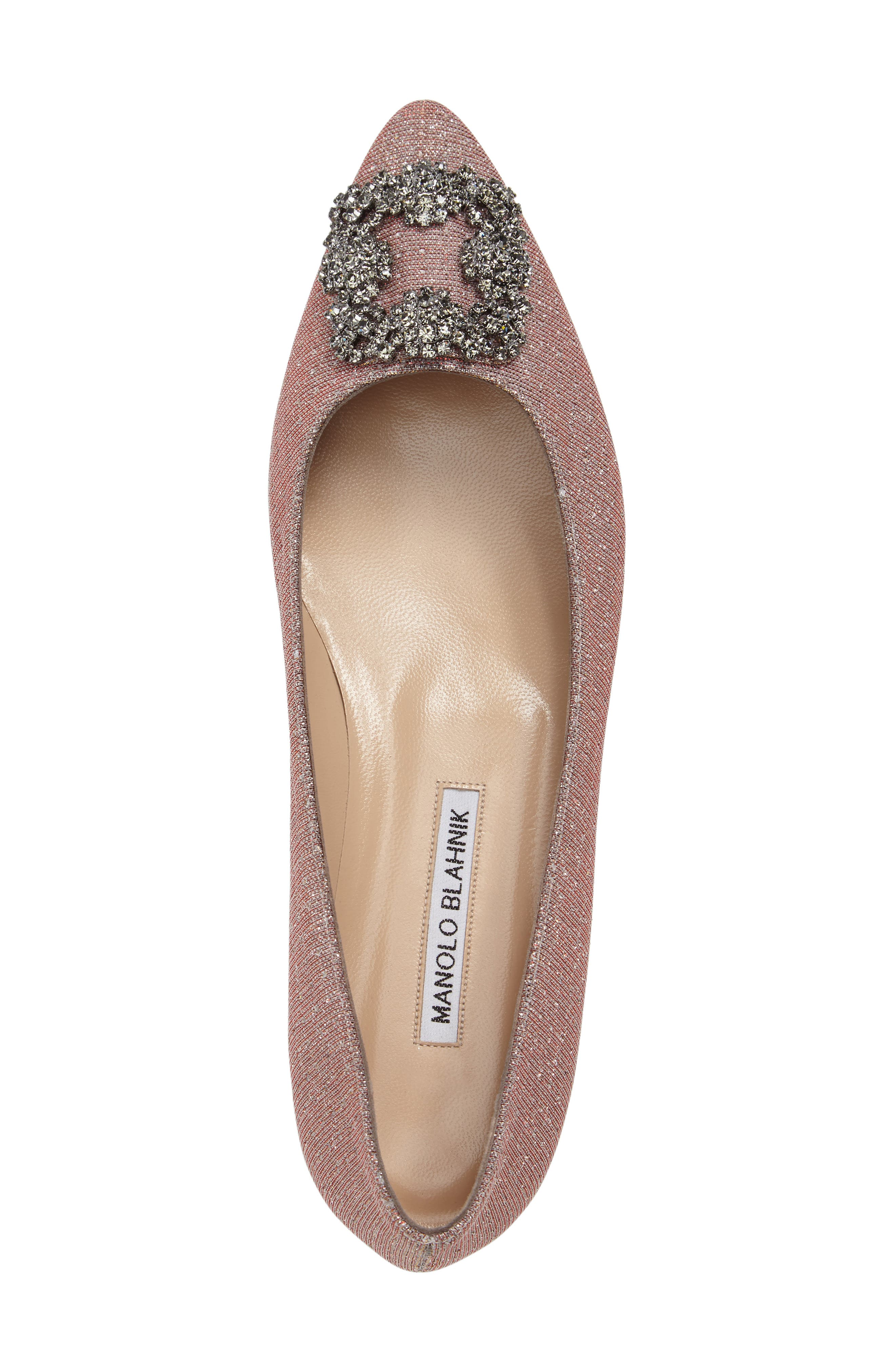 MANOLO BLAHNIK,                             'Hangisi' Jeweled Pointy Toe Flat,                             Alternate thumbnail 5, color,                             CHAMPAGNE FABRIC