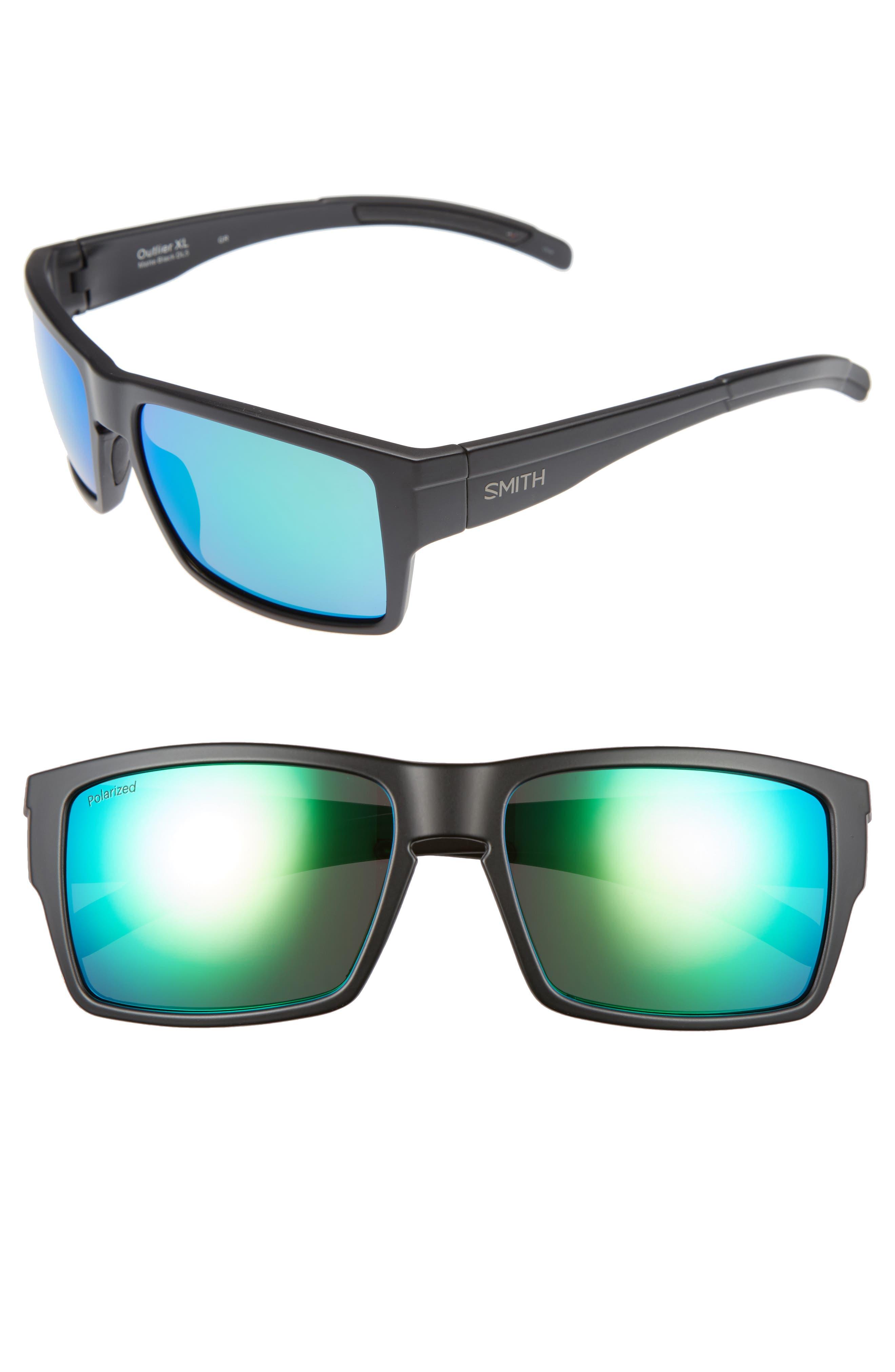 'Outlier XL' 56mm Polarized Sunglasses,                         Main,                         color, MATTE BLACK