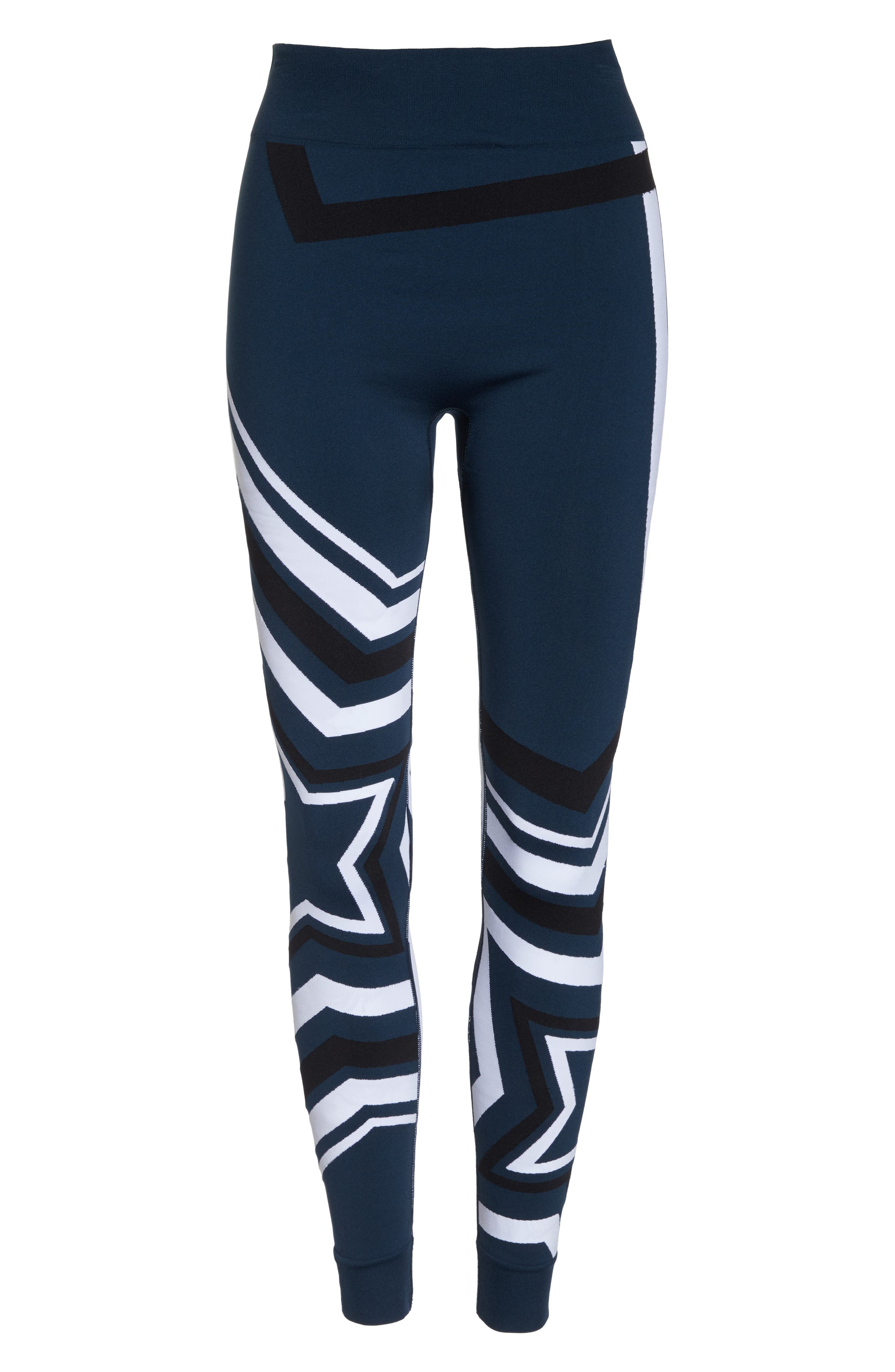 Star Graphic Seamless Leggings,                             Alternate thumbnail 7, color,                             BEETLE BLUE STAR JACQUARD