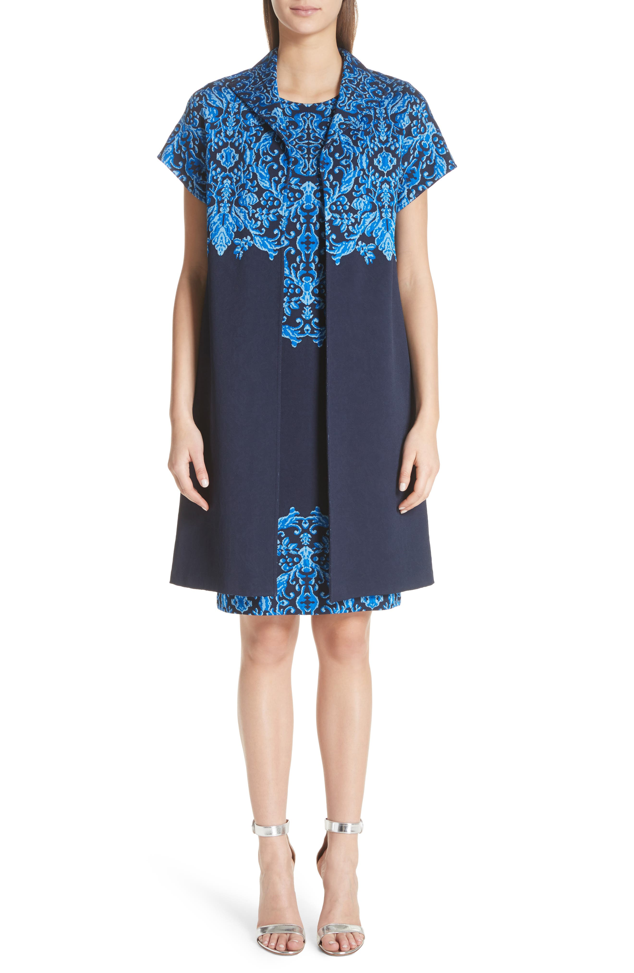 Cool Tones Brocade Knit Dress,                             Alternate thumbnail 8, color,                             COBALT MULTI