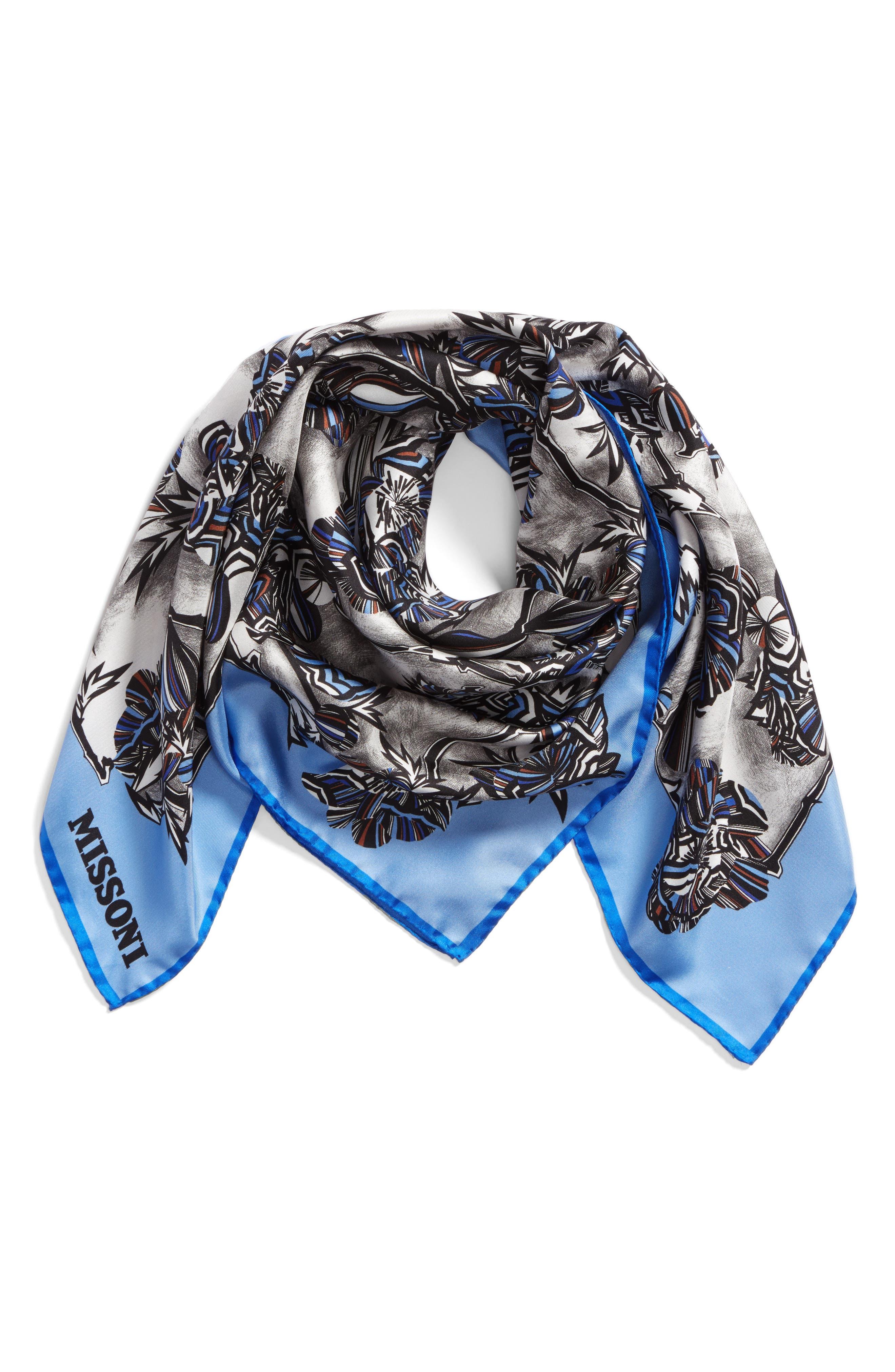 Floral Print Square Silk Scarf,                             Alternate thumbnail 3, color,                             BLUE